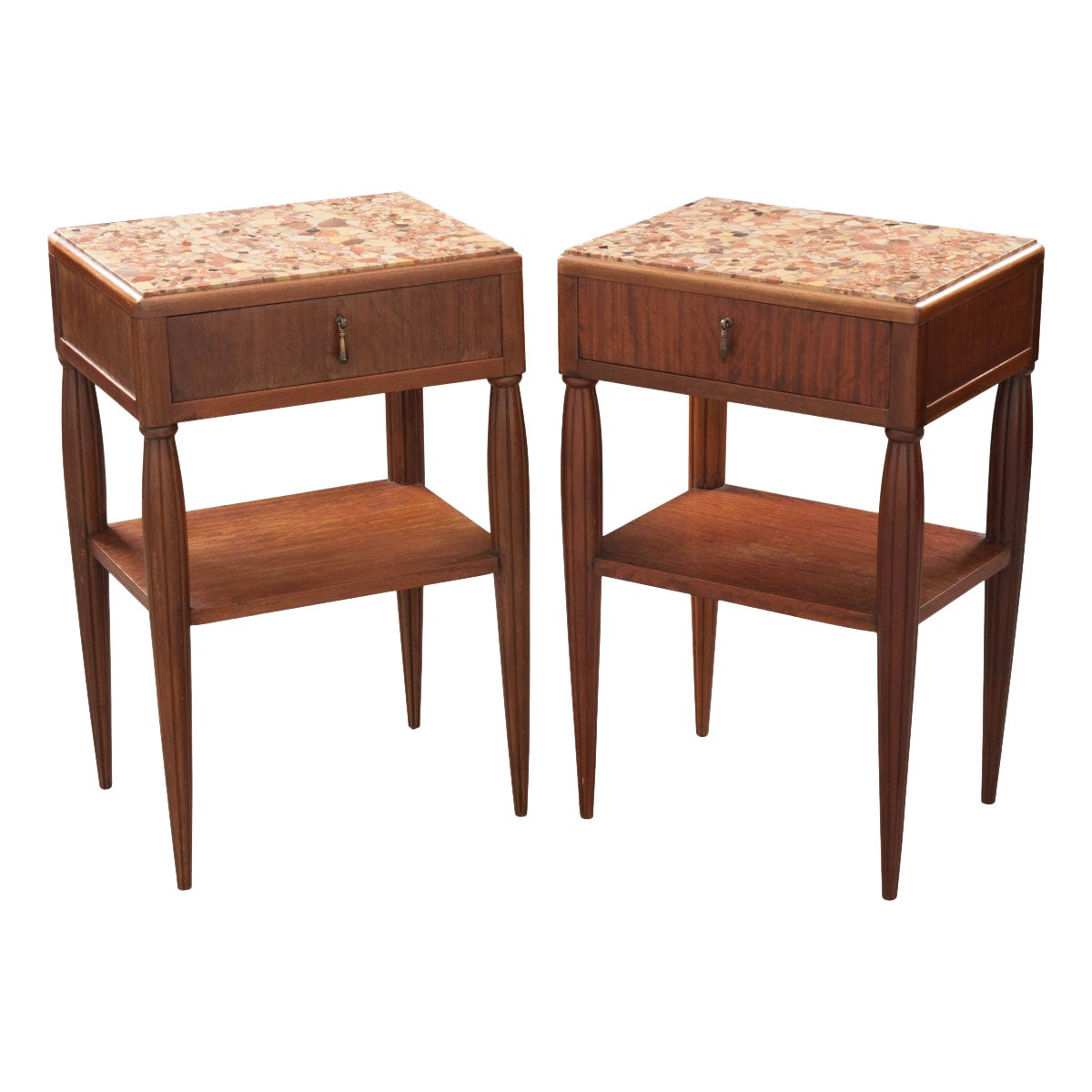 French Pair of Art Deco Bedside Tables