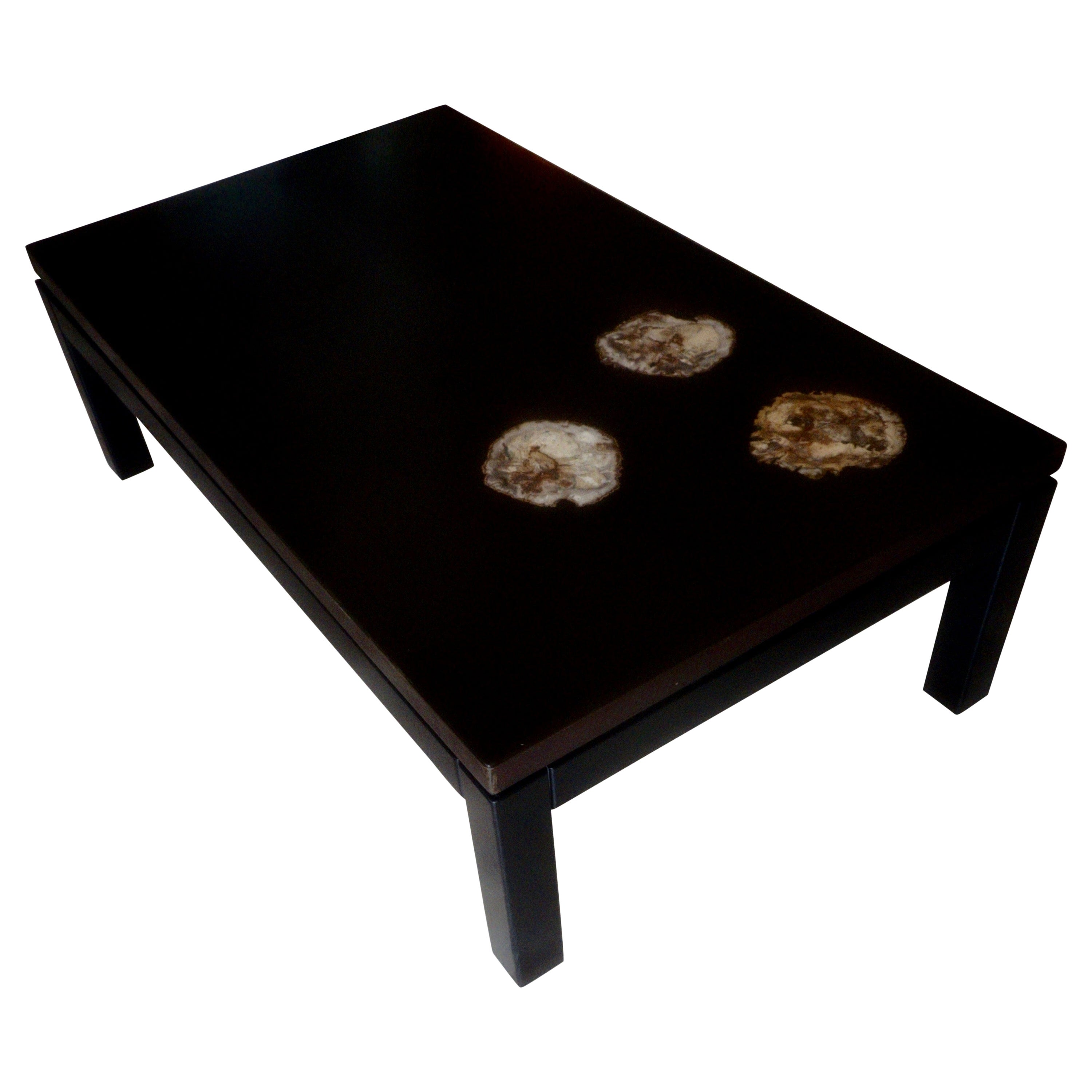 Dark Brown Resin Table with Petrified Wood Inclusions, Belgium, 1970