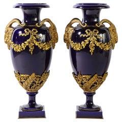 Pr. French Louis XVI Sevres Style Cobalt Blue Porcelain & Dore Bronze Mnt. Vases
