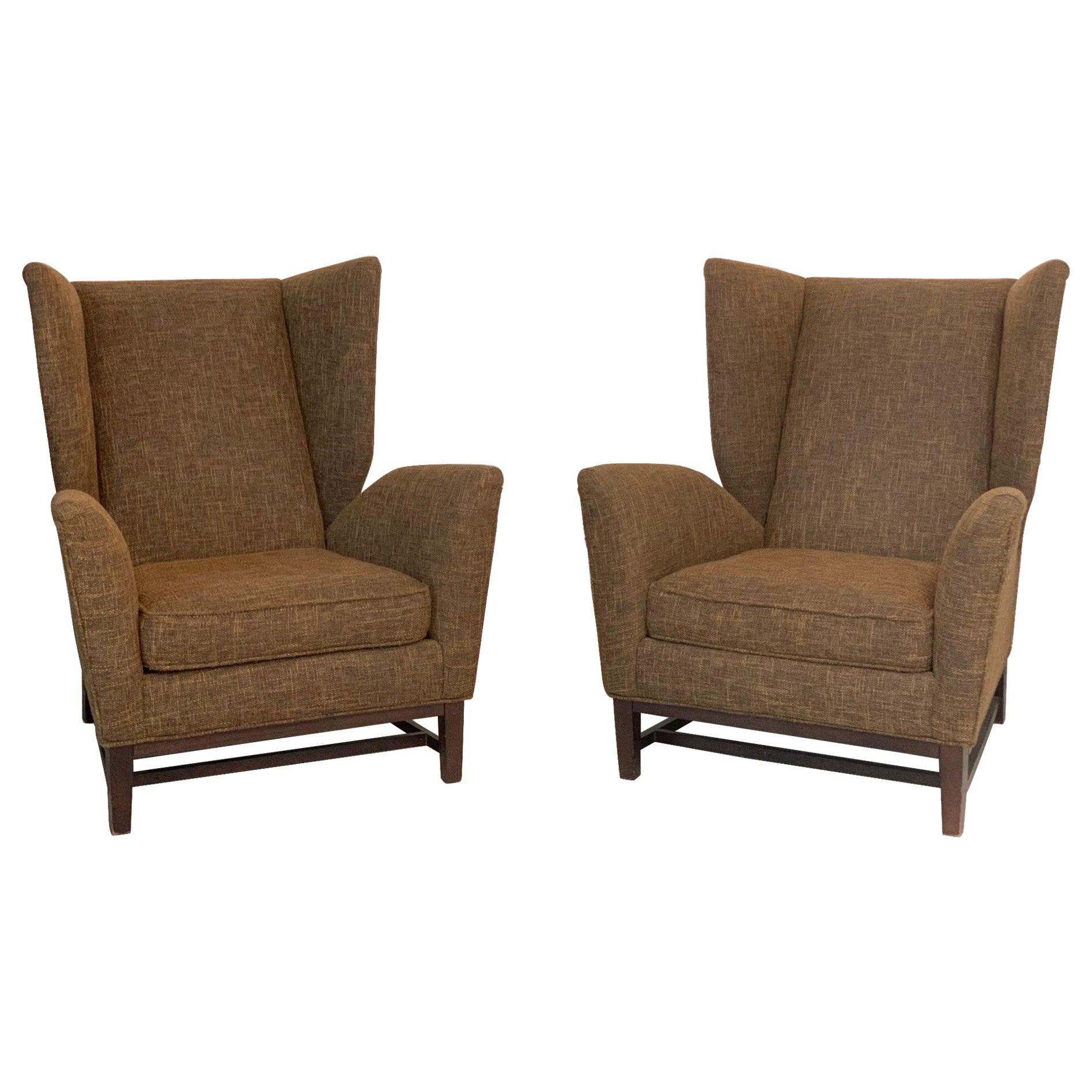 Pair of Italian Mid-Century Modern Wingback Lounge Chairs