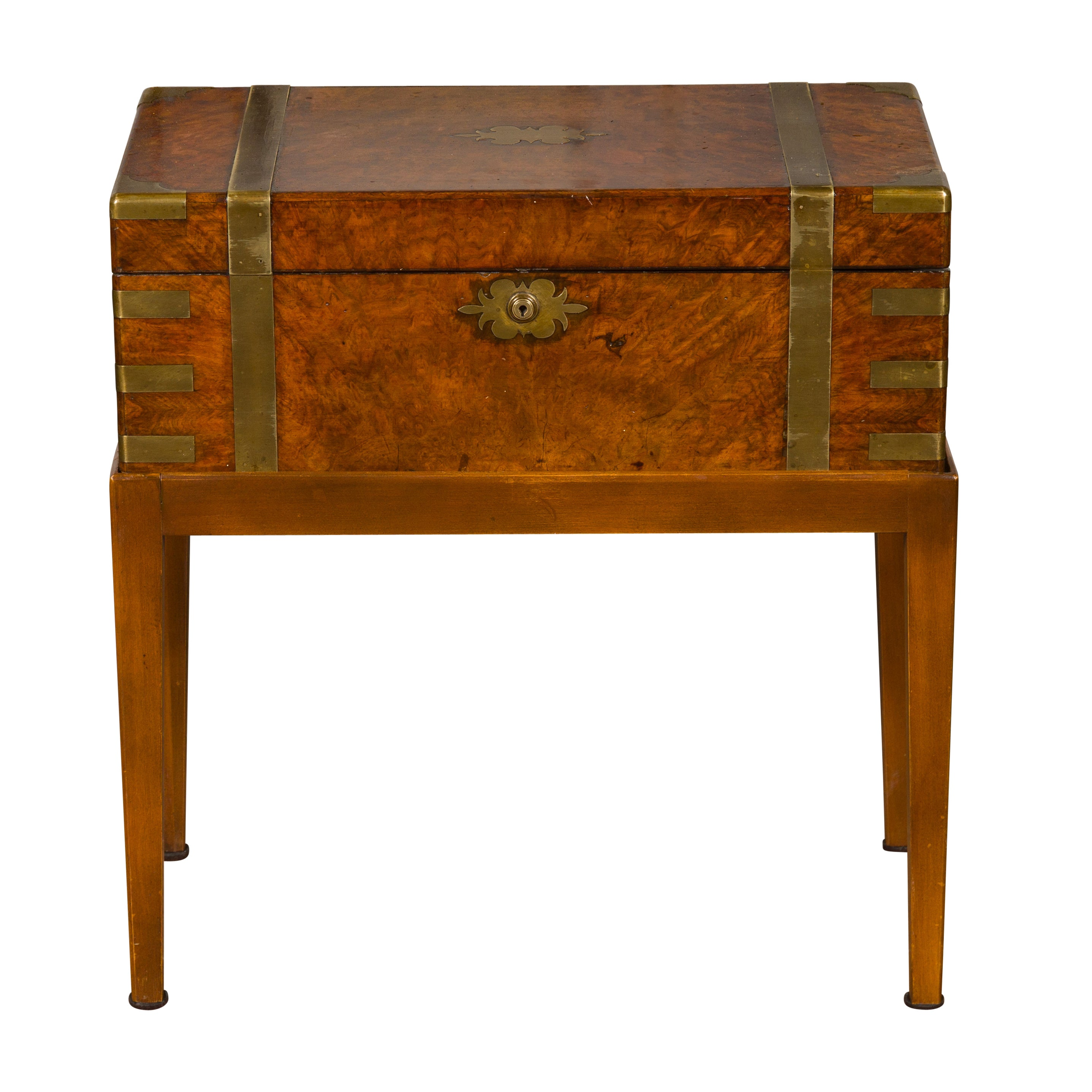 English 1850s Walnut Lap Desk Box on Custom Stand Fitted with Green Leather