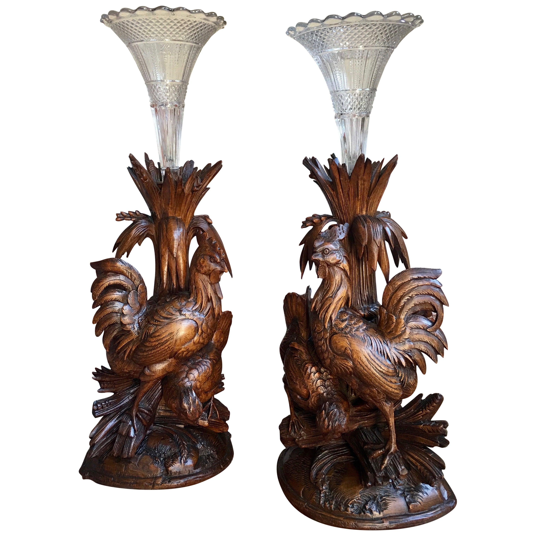 Pair of Carved Wood Black Forest Chicken Vase Epergne Candleholder Set