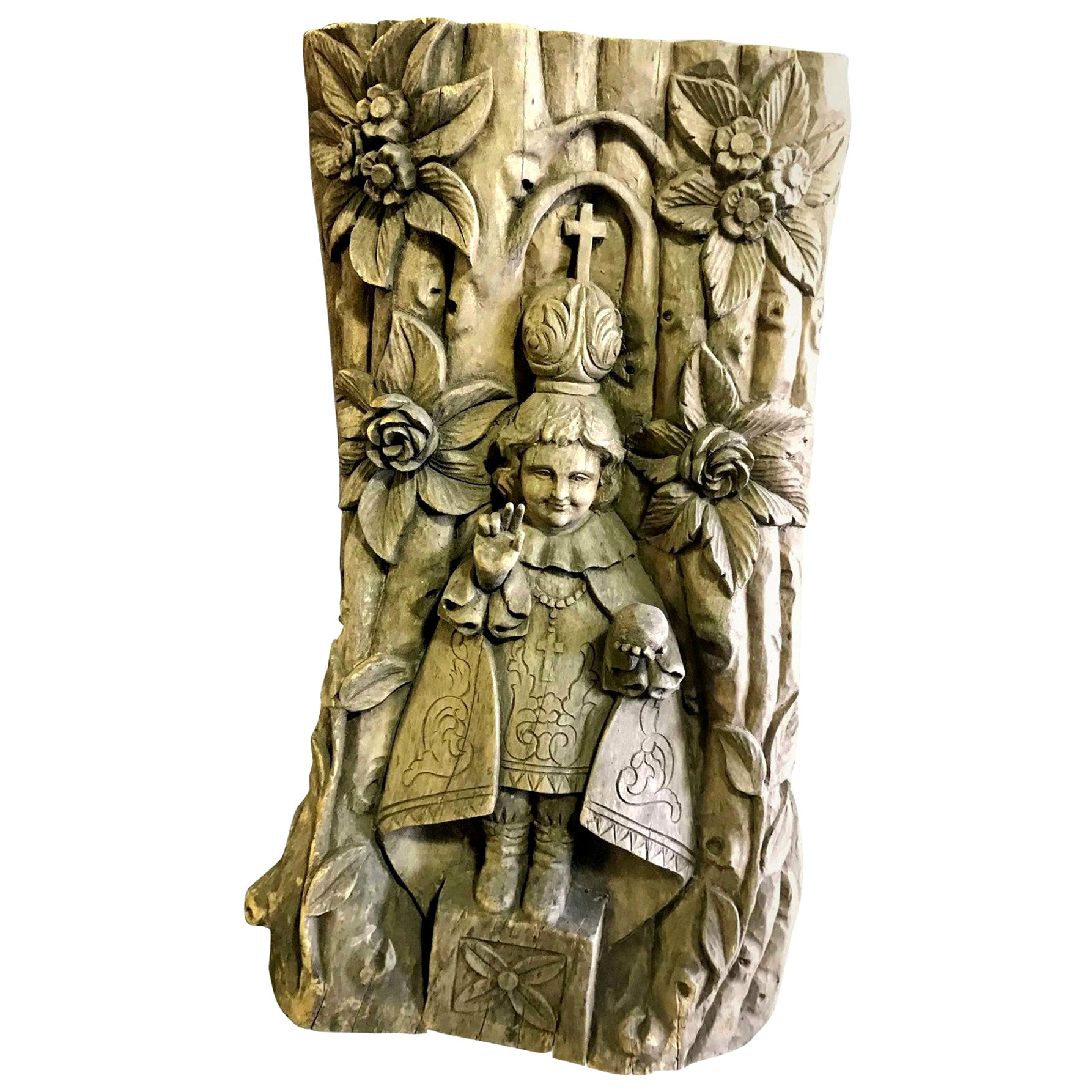 Hand Carved Heavy Wood Wall Relief Plaque Panel of Catholic Saint, 19th Century