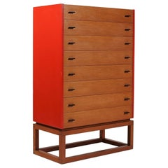 Scandinavian Modern Tall Boy / Chest of Drawers in Oregon Pine and Red Lacquer