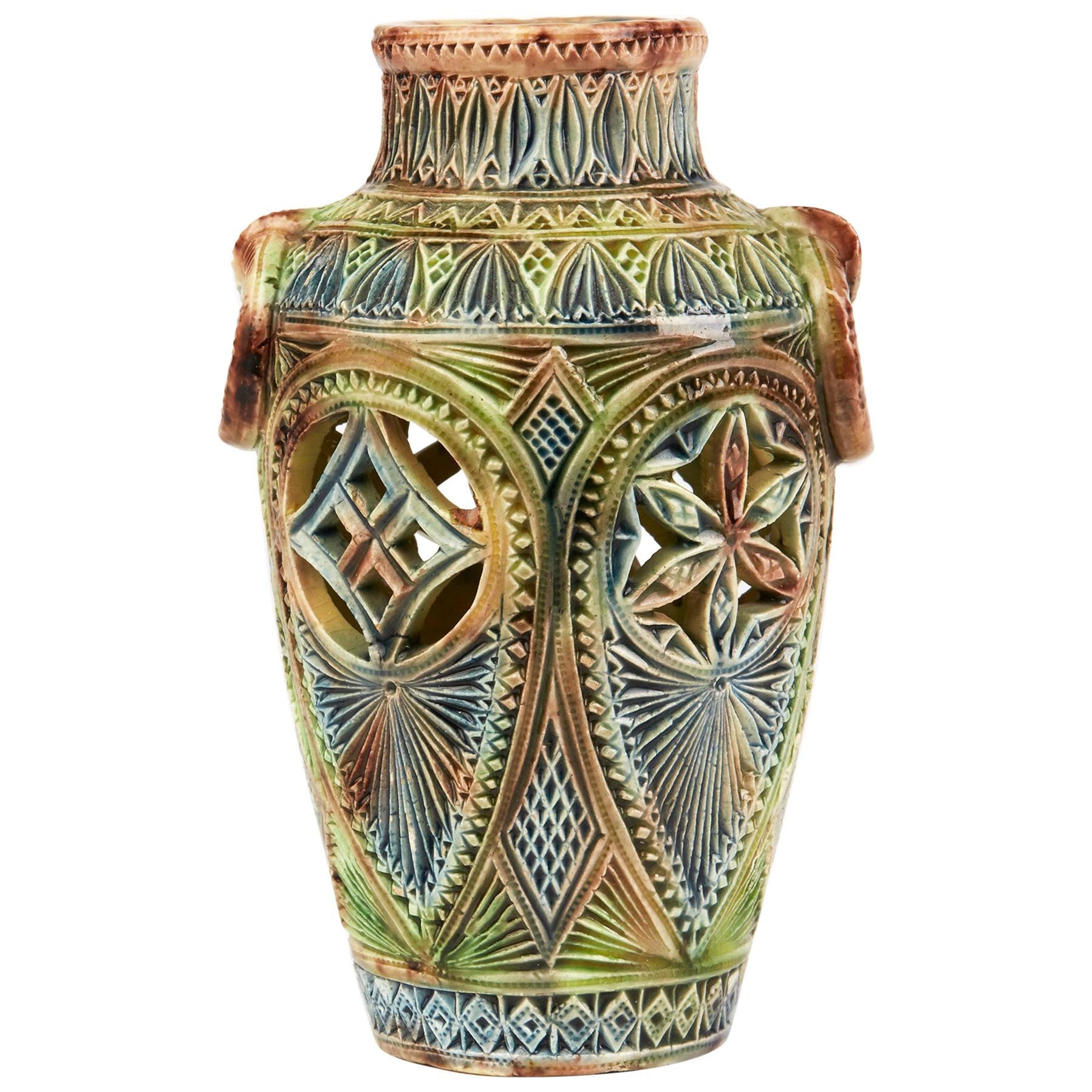 Dutch Frisian Art Pottery Twin Handled Vase, circa 1900