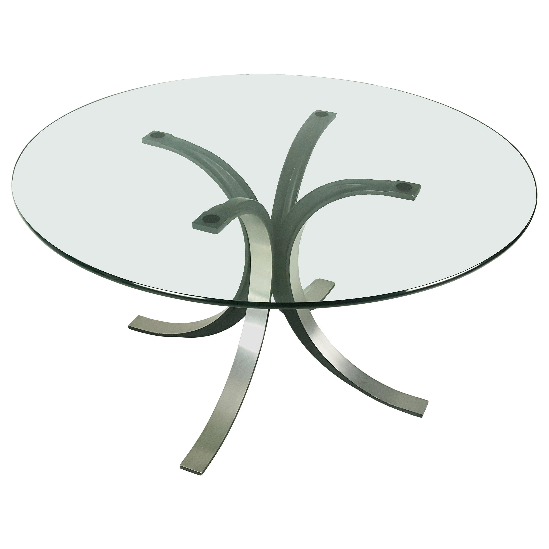 """Black Aluminum & Glass Top 1960s """"T69"""" Round Table by Osvaldo Borsani & E. Gerli"""