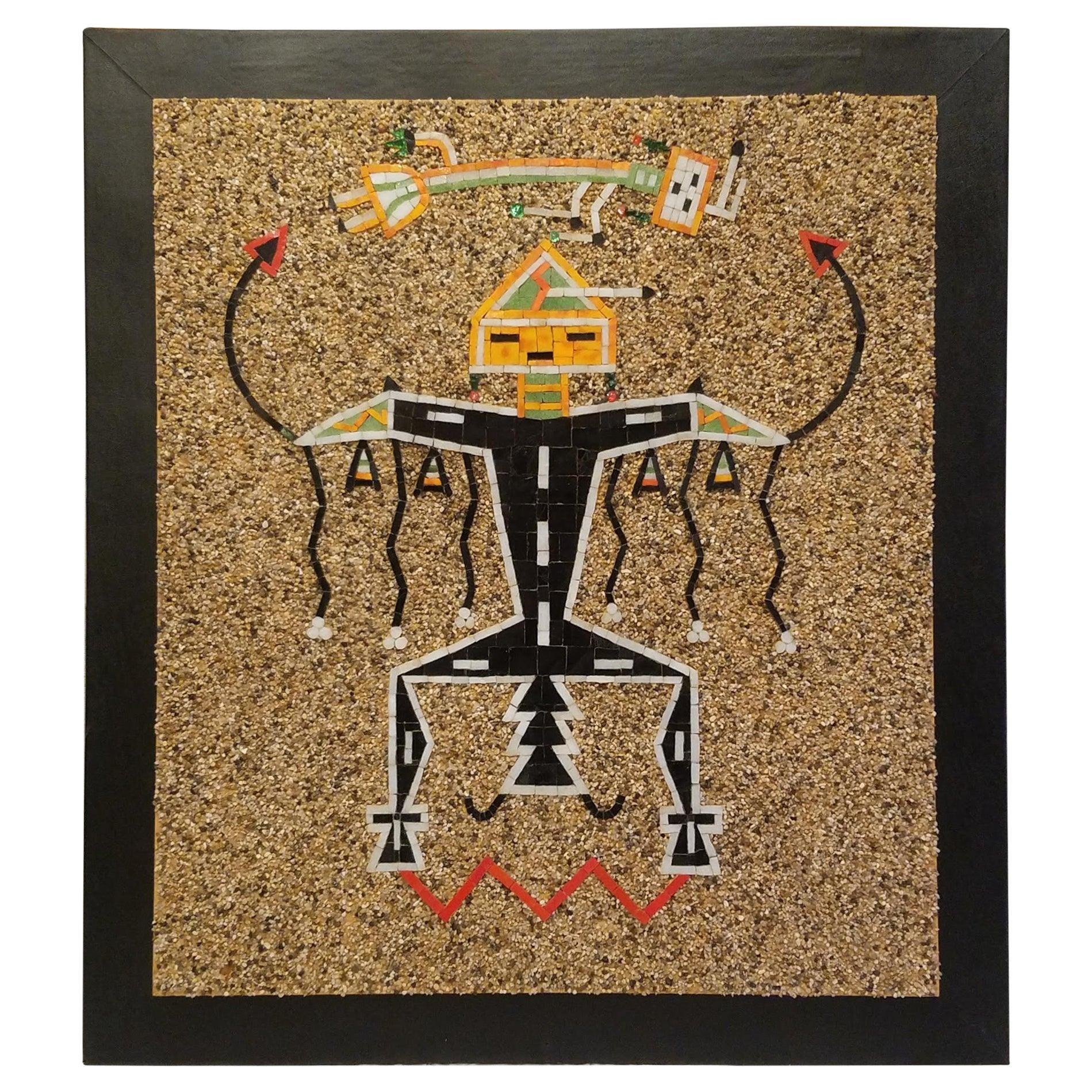 California Studio Navajo Sand Painting Mosaic Art Panel of Thunderbird, 1960s