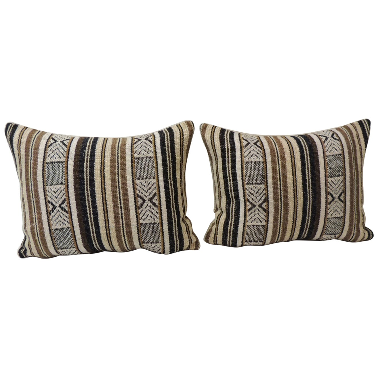Pair of Black and Brown Woven Bolster Decorative Pillows