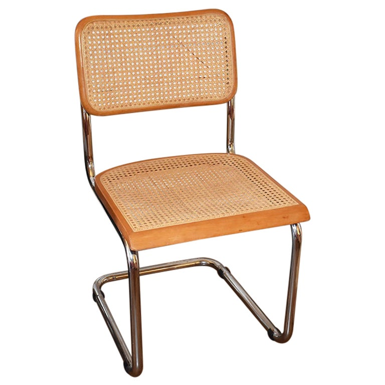 Mid-Century Modern Cane Bentwood Cantilever Dining Chair in the Style of Thonet