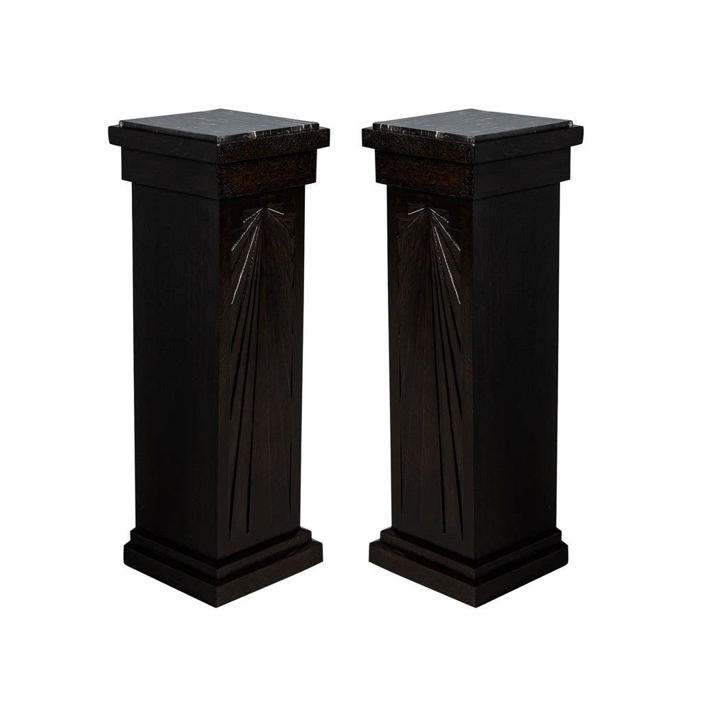 Pair of Art Deco Carved Column Pedestal Stands