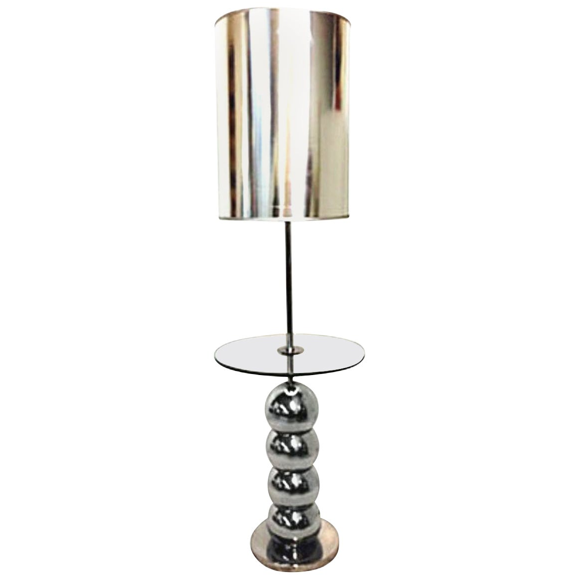 "1960s Chrome and Glass ""Bubble"" Table Floor Lamps by Laurel"