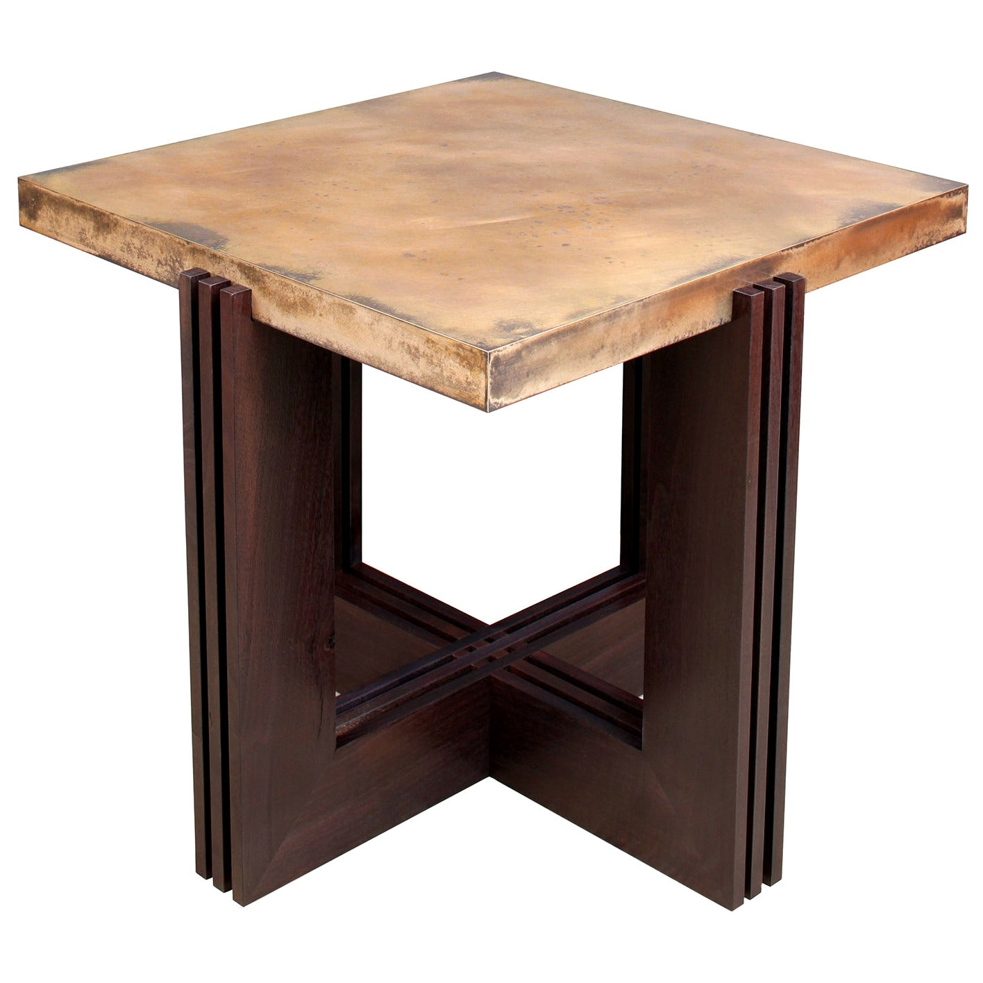"""""""FLW"""" Side Table in Etched Bronze and Ebonized Walnut by Studio Roeper"""