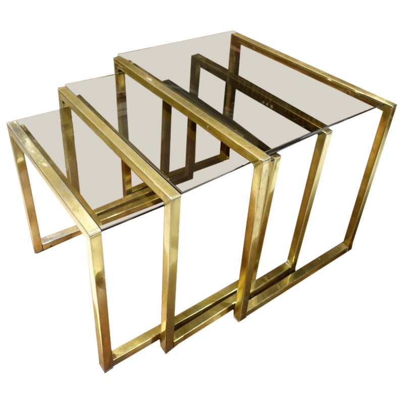 Brass and Glass Nesting Tables, Italy, 1970s