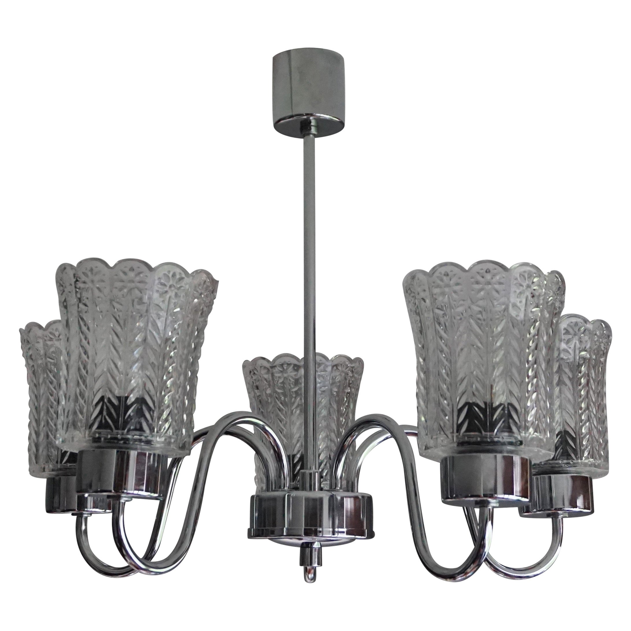 Mid-Century Modern Chrome and Glass Shades Pendant Light with Flower Patterns