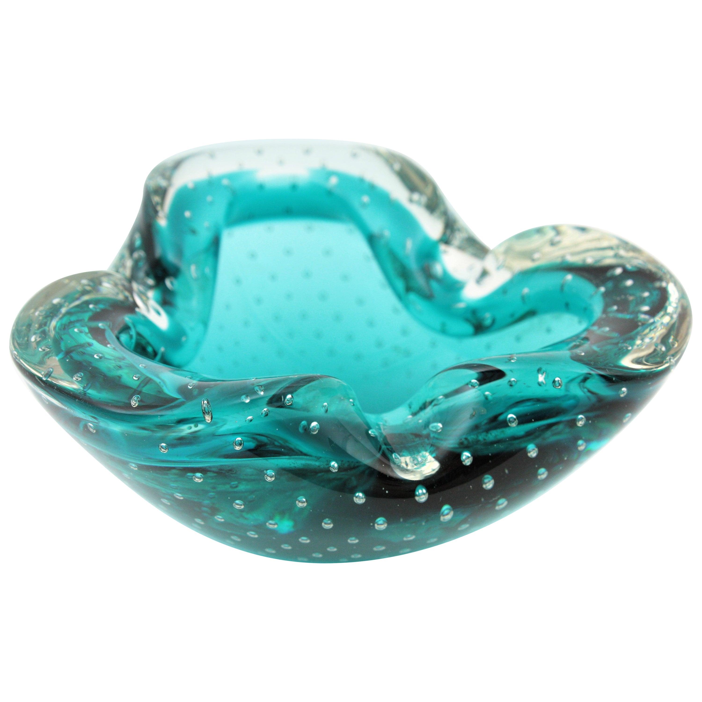 Seguso Murano Sommerso Petrol Blue Bubble Art Glass Bowl /Ashtray, 1960s