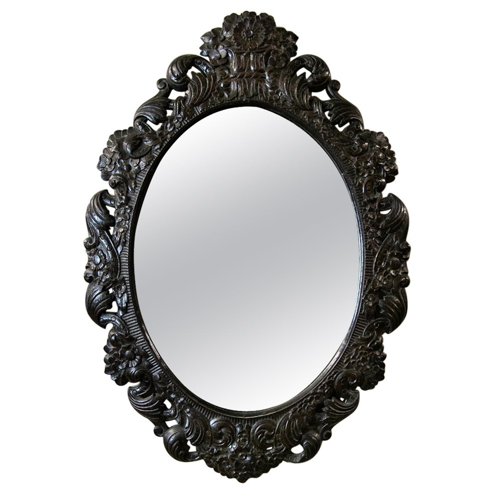Carved English Oval Mirror