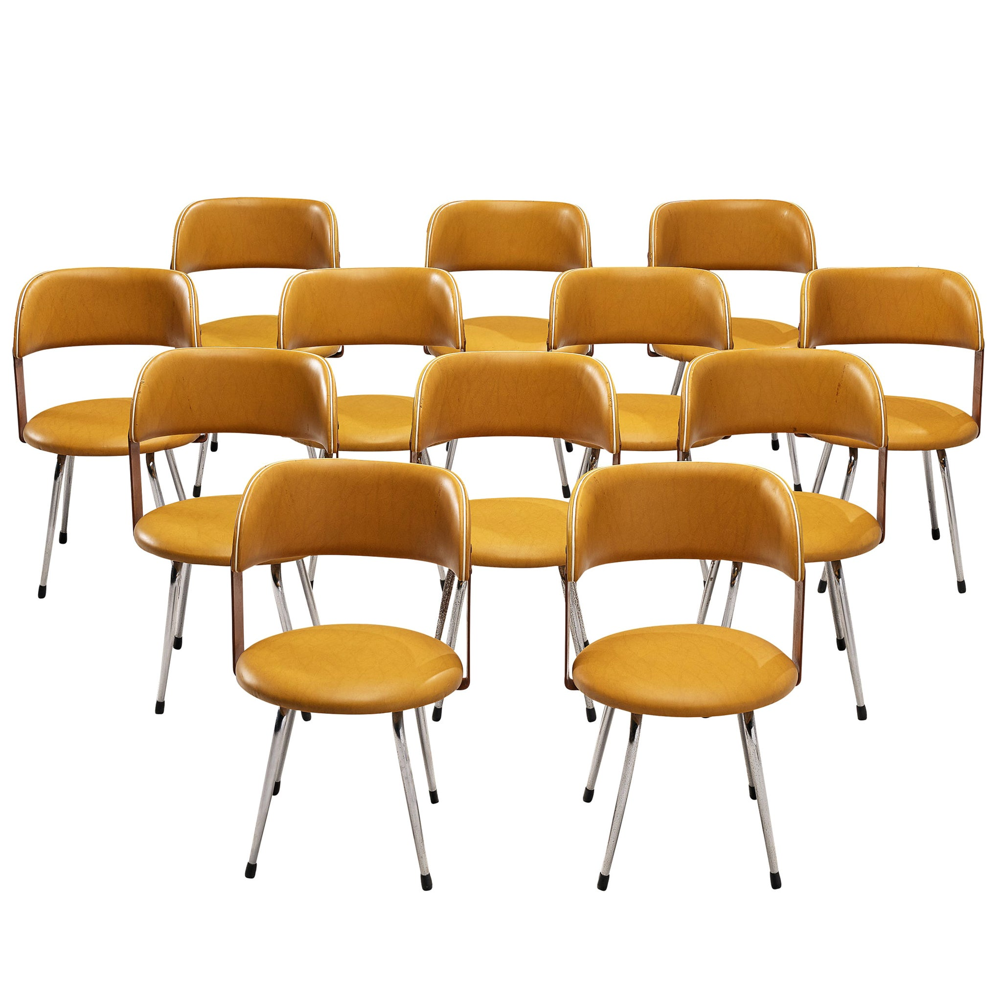 Large Set of 12 Italian Dining Chairs in Leatherette and Metal, 1970s