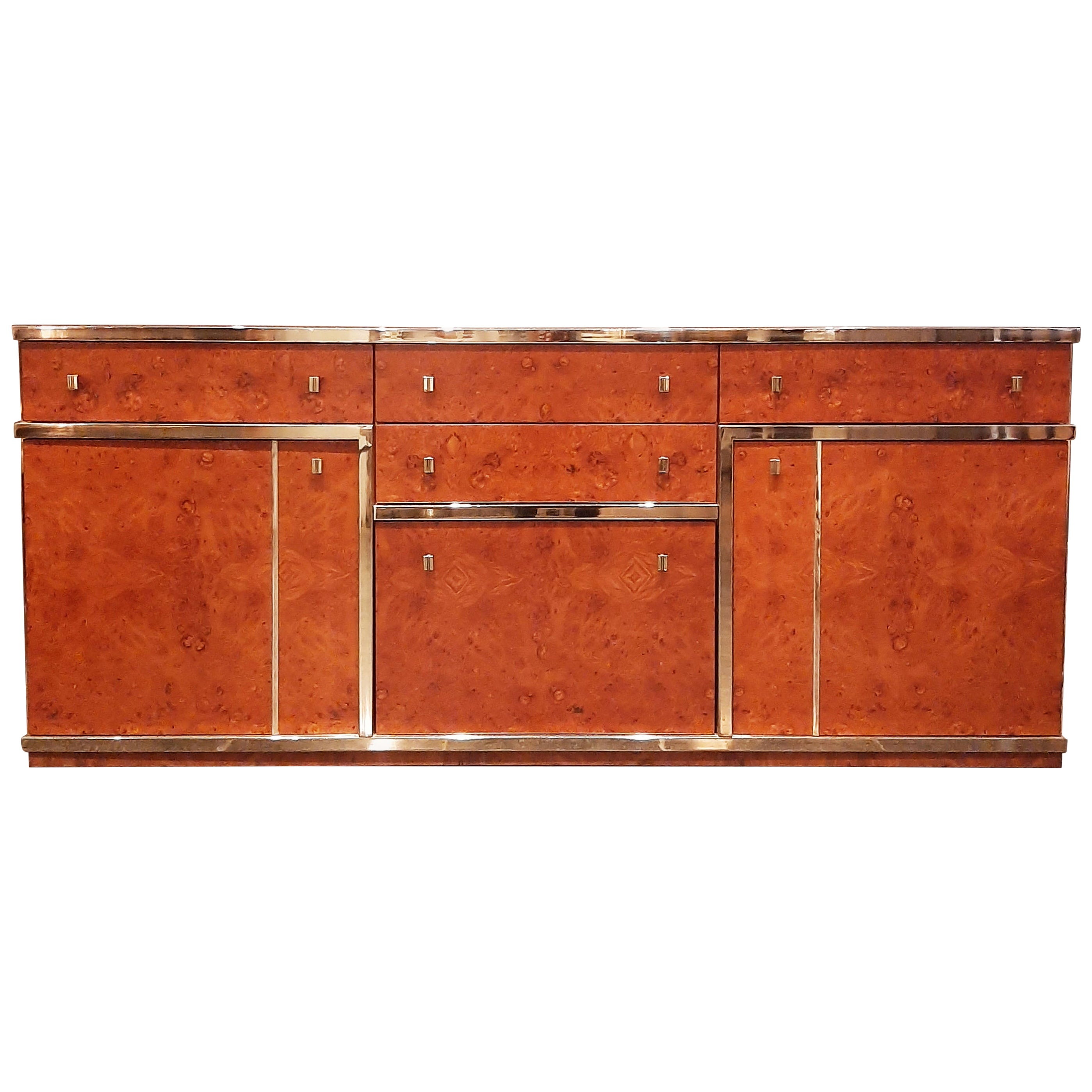 Midcentury Willy Rizzo Burl Wood and Chrome Credenza, Italy, 1970s