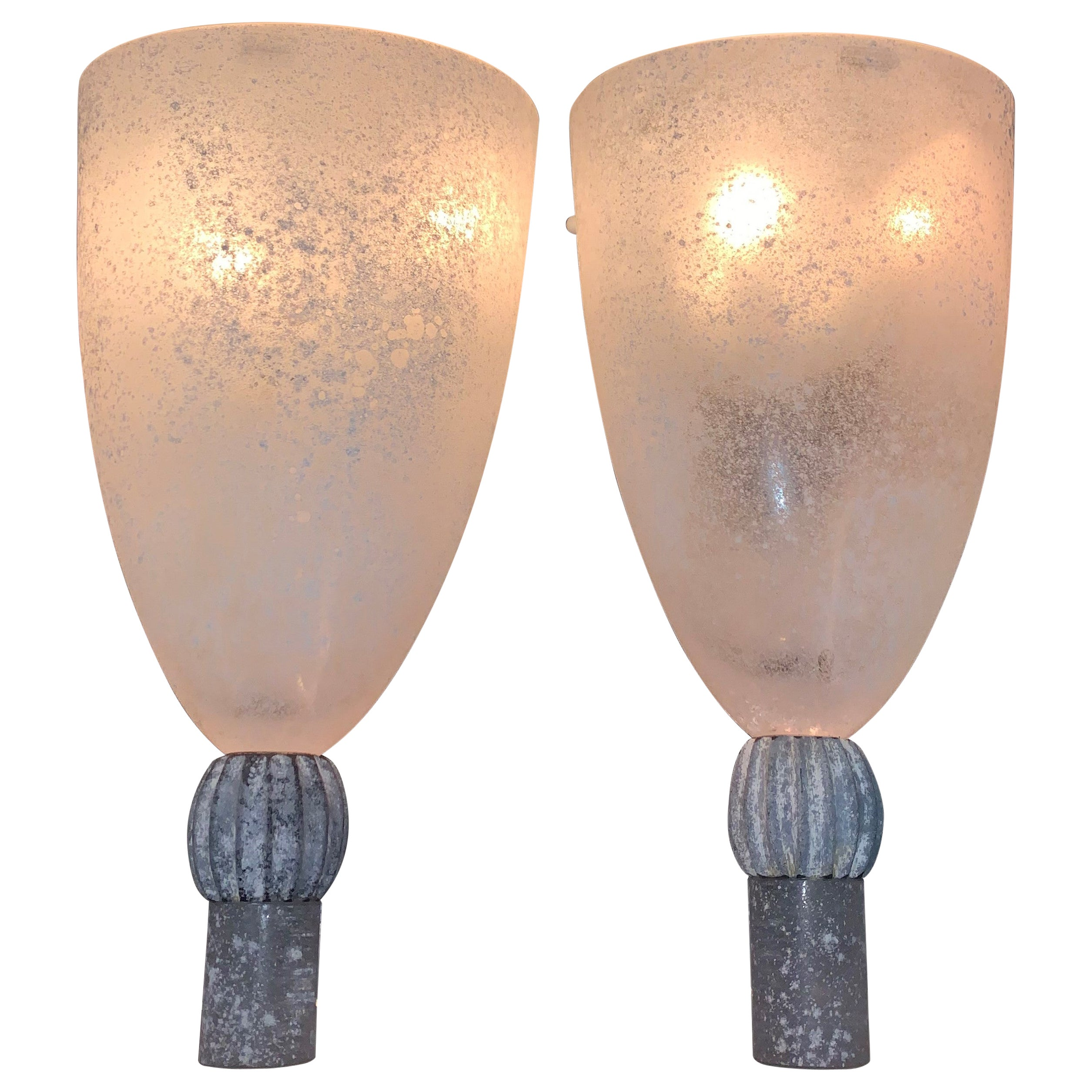 "Large Pair of Sconces by Seguso in ""Scavo"" Murano Glass, Italy, circa 1980"