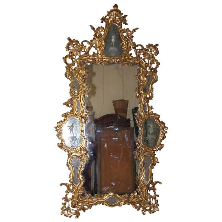 ON SALE Massive Size Mirror 19th Century Venetian Etched Glass 9'5'' H