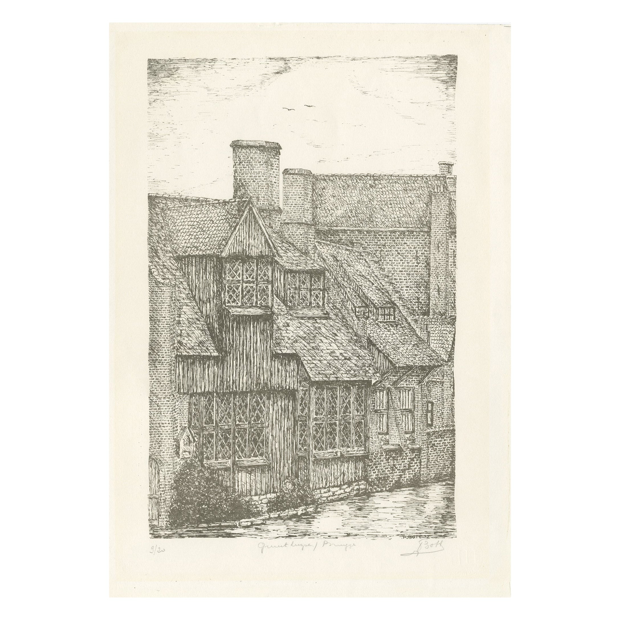 Vintage Etching of Bruges by 'Bott?', circa 1970