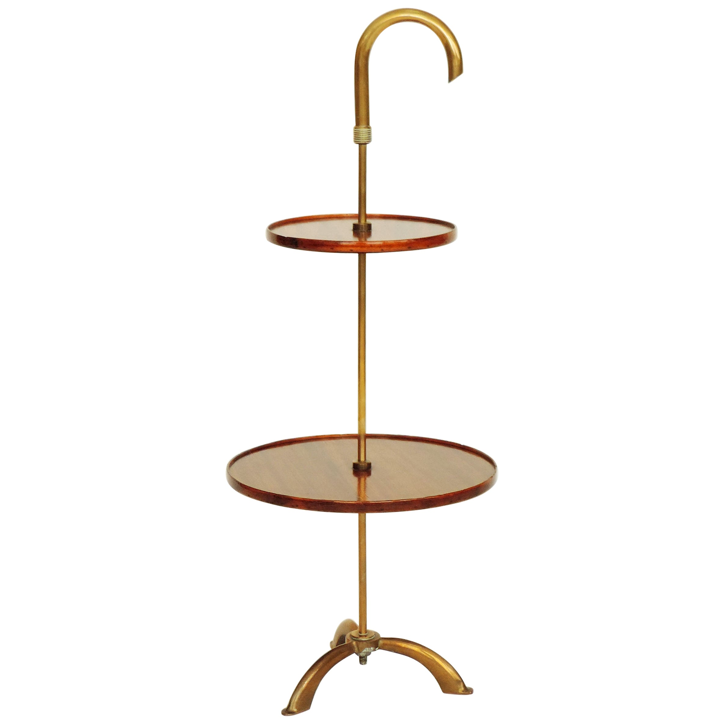 Italian Wood and Brass Midcentury Side Table, 1950s