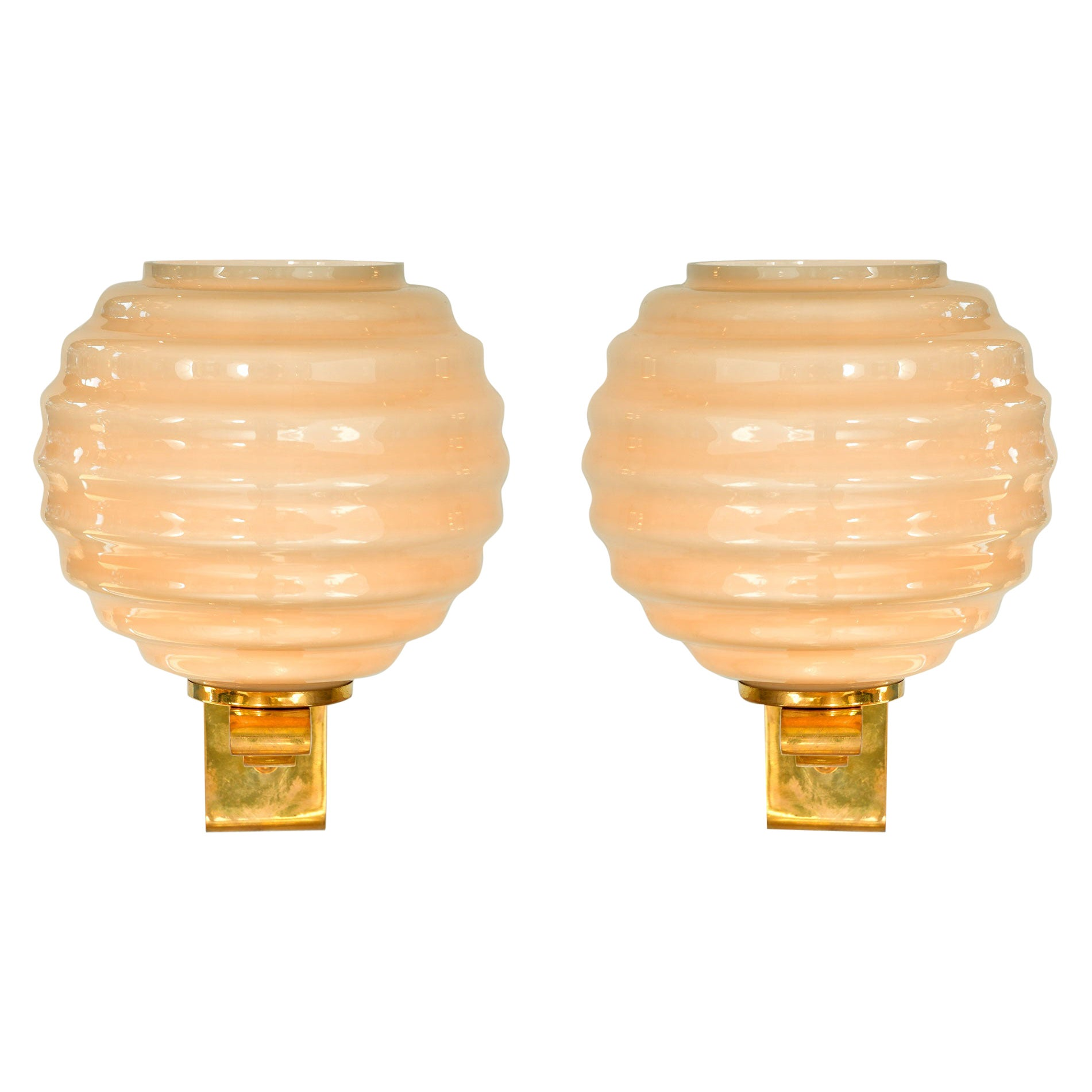 Italian brass and glass Circular Ribbed Wall Lights