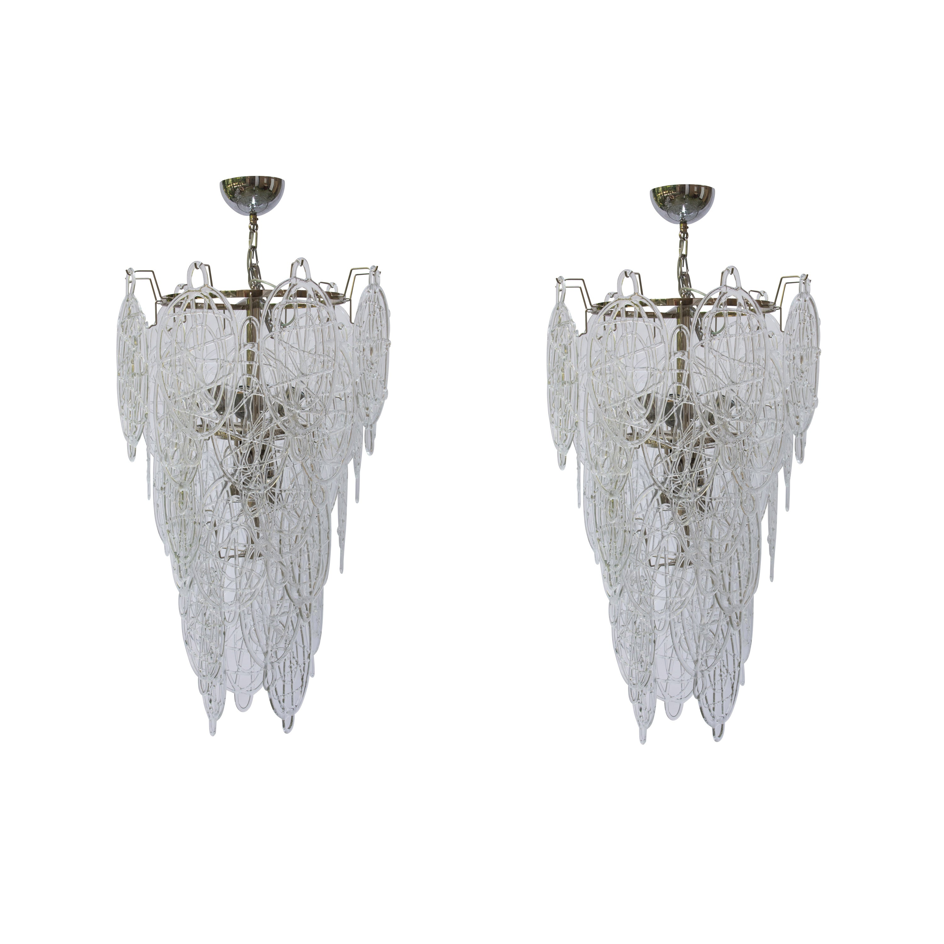 1960s Pair of Venini Ceiling Lights, Italian Murano Design Blown Clear Glass