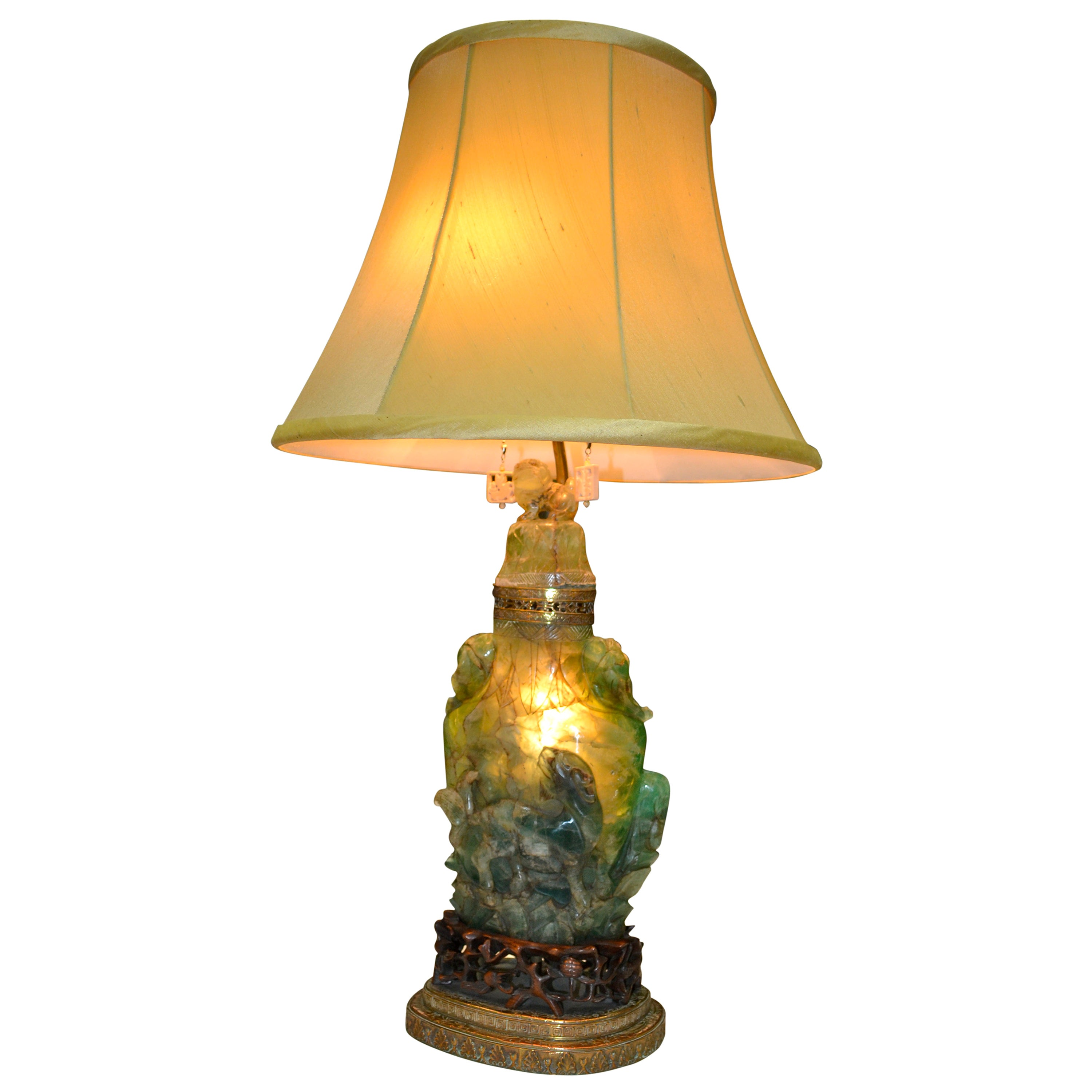 Early 20th Century Chinese Carved Green Jadeite Quartz Lamp