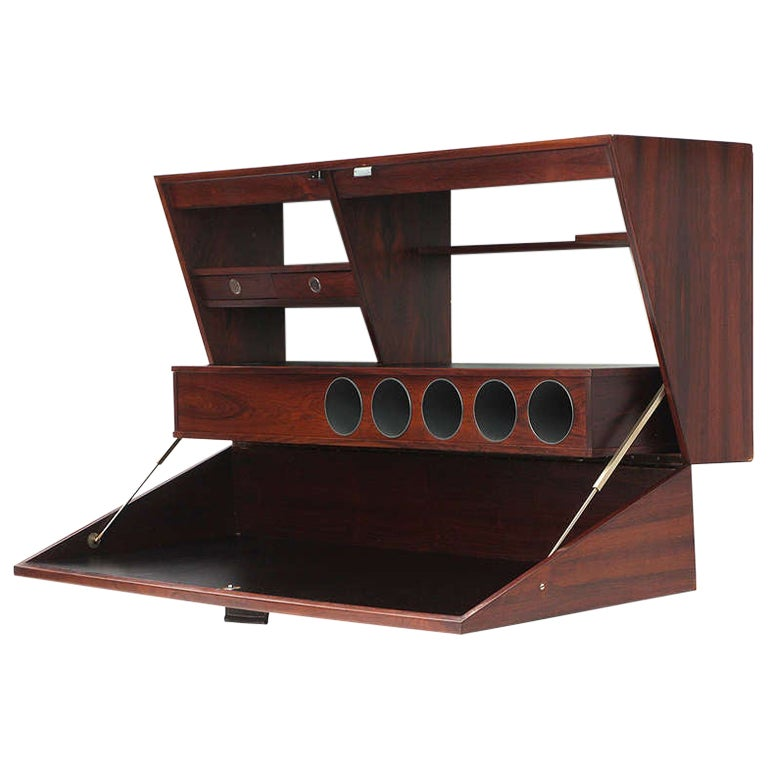 1960s Danish Wall-Mounted Rosewood Bar Cabinet by Dyrlund