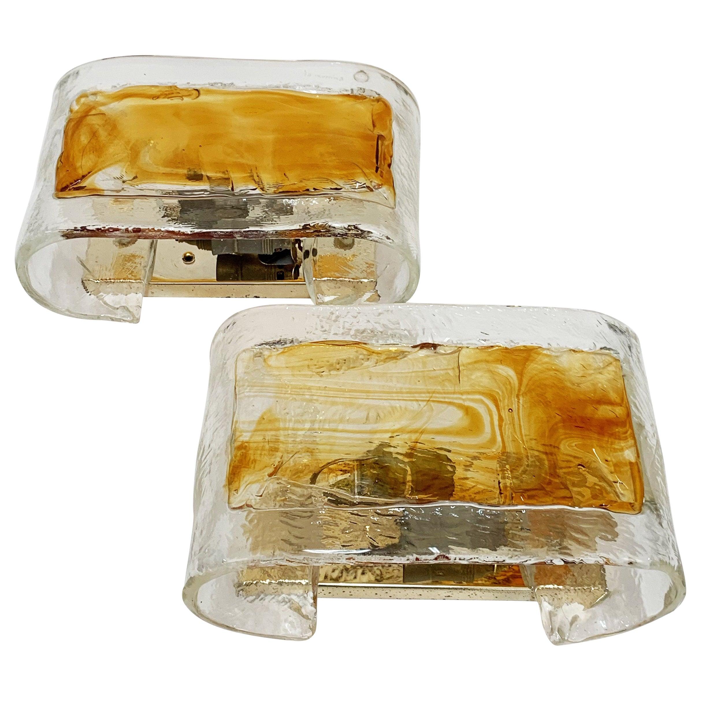 Pair of La Murrina Midcentury Steel and Amber Murano Glass Italian Sconces 1970s