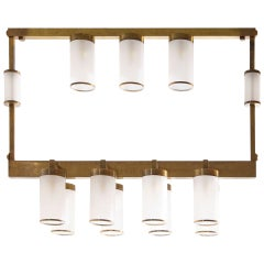 Mid-Century Squared Chandelier in Brass and Blow Murano Glass, 1950s Italy