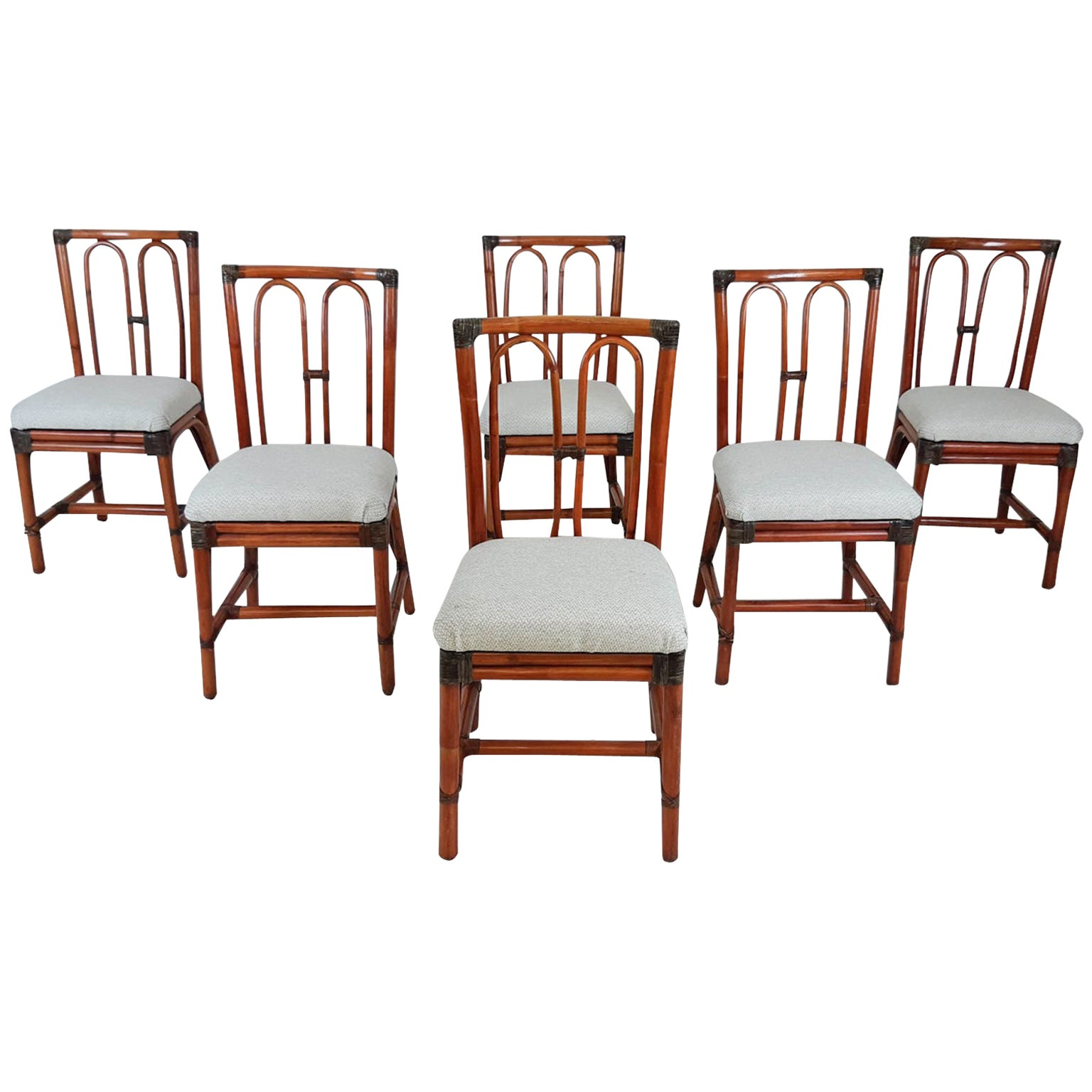 Set of 6 McGuire Attributed Vintage Bamboo Dining Chairs