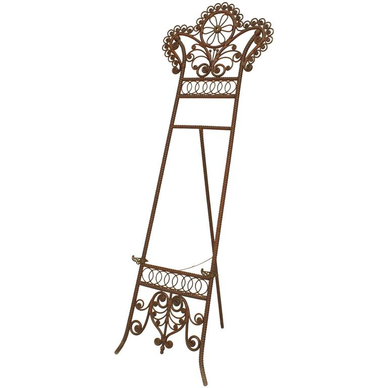 19th Century American Wicker and Iron Easel Attributed to Heywood-Wakefield
