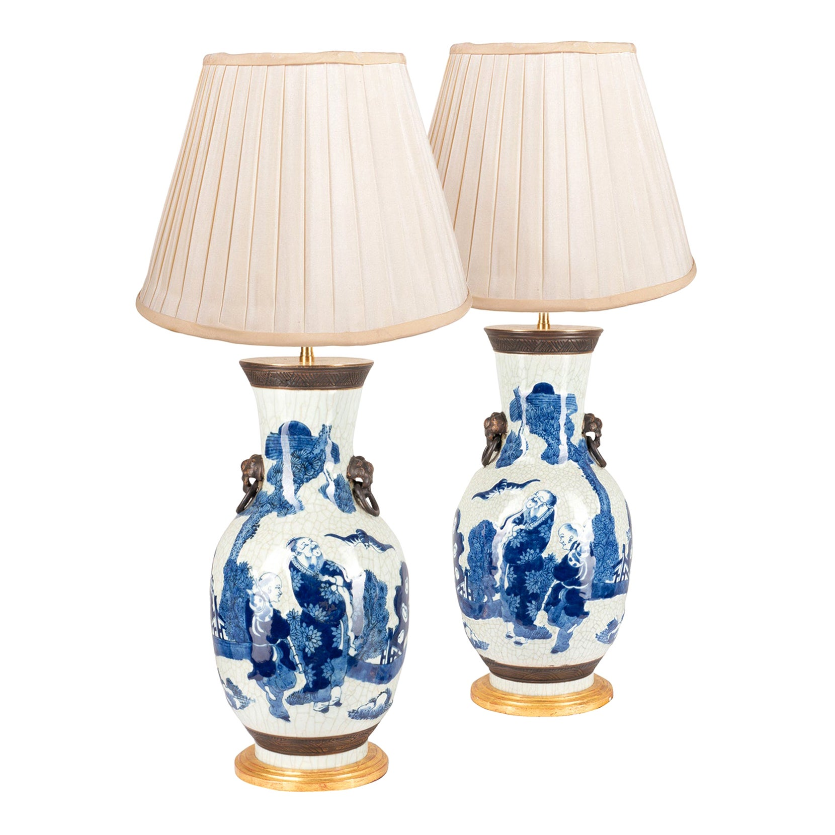 Pair of Chinese Blue and White Crackle Ware Vases/Lamps