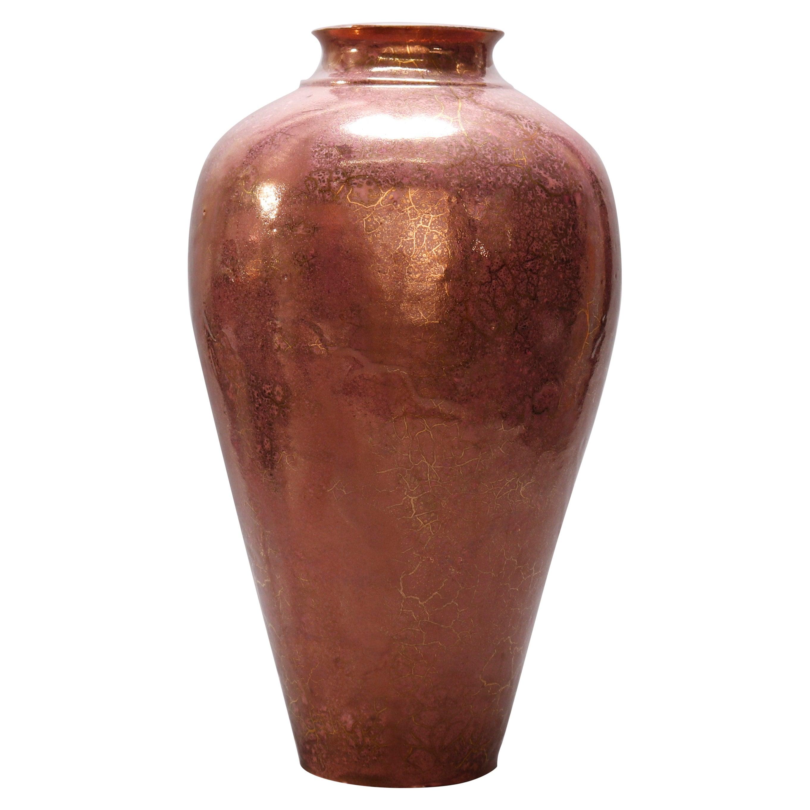 Vintage Rose Luster Hand Thrown Art Pottery Floor Vase, circa 1960