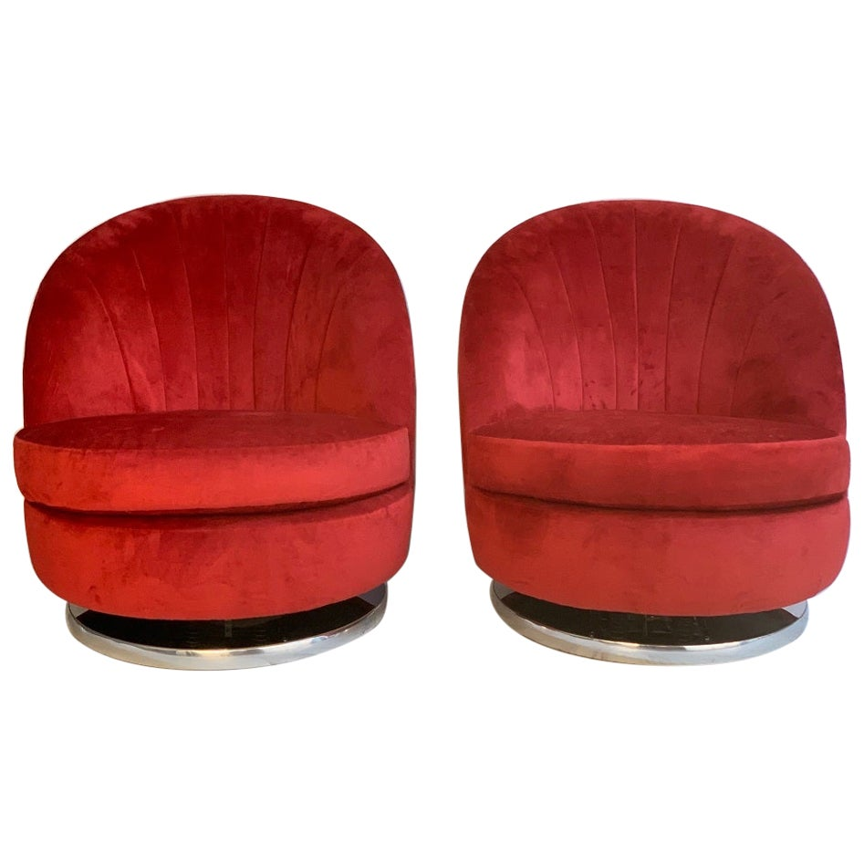 Pair of Milo Baughman Swivel Lounge Chairs for Thayer Coggin