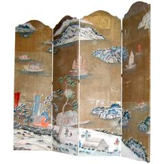 Chinoiserie Painted Screeen