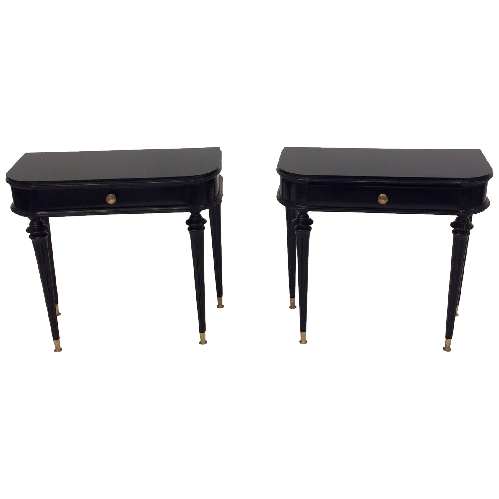 Pair of Italian Black Lacquered Side Tables Attributed to Paolo Buffa circa 1940