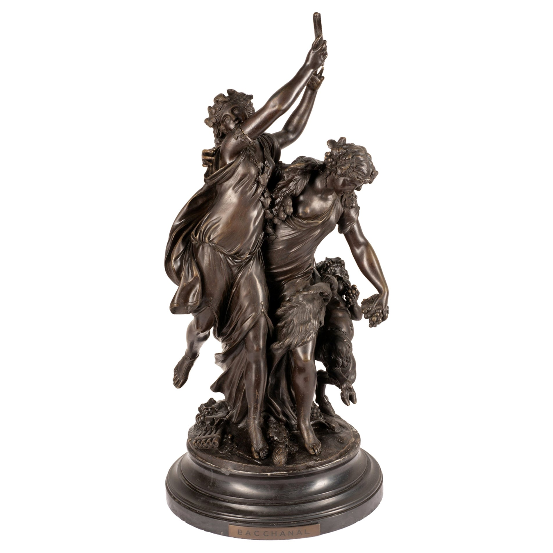 19th Century Clodian Bronze of Classical Bacchus Influenced Dancing Maidens