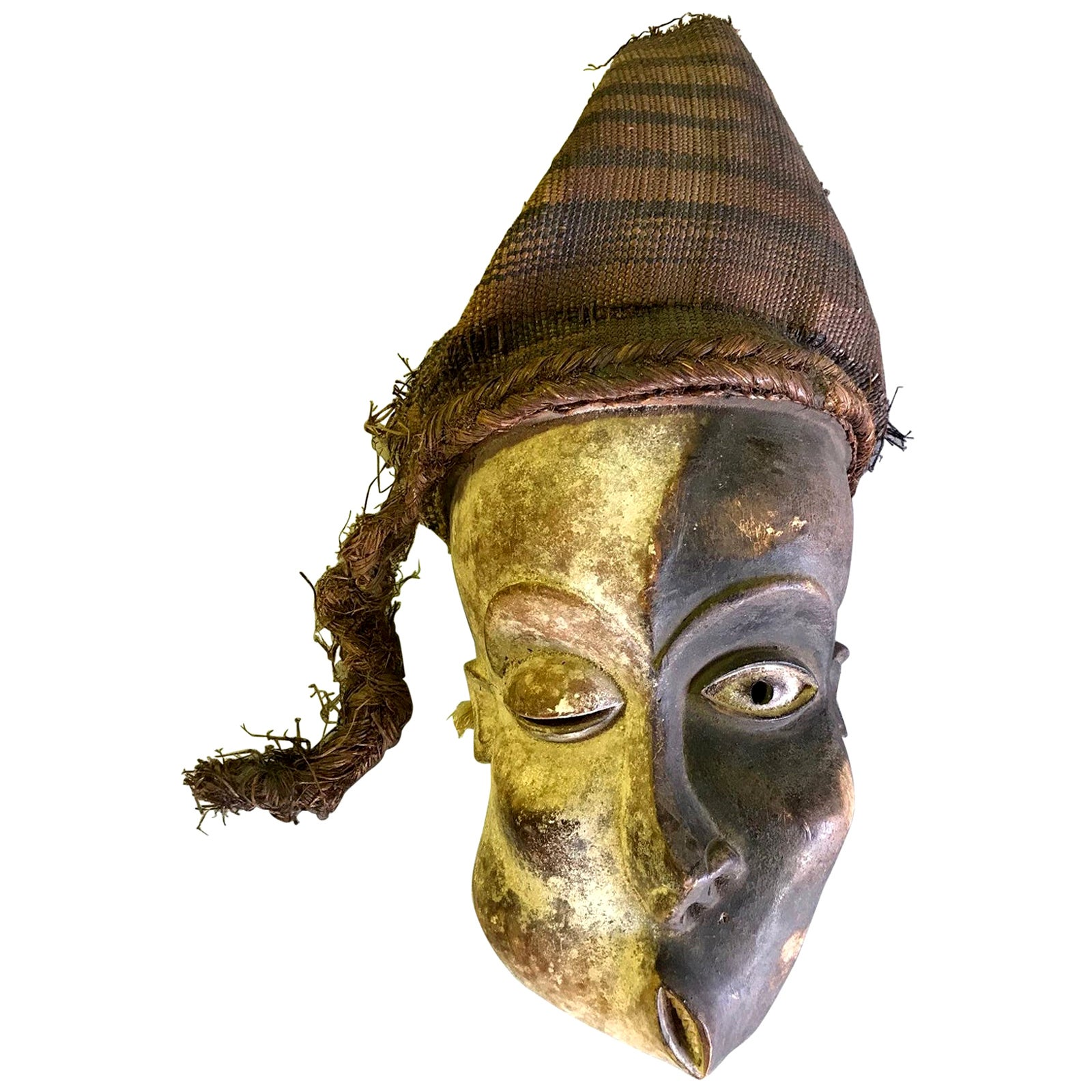 African Pende Mbangu Asymmetrical Carved Wood Mask