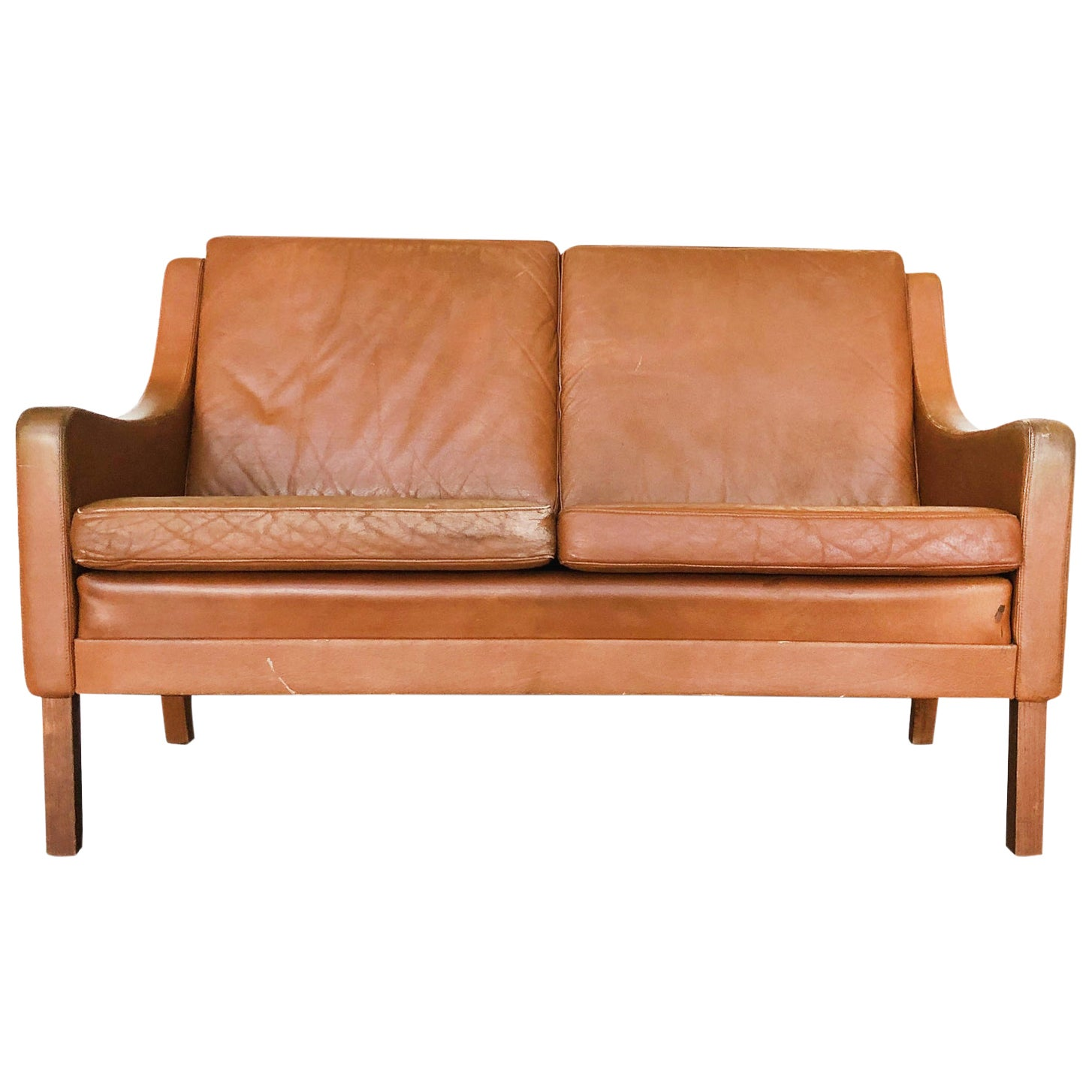 Danish Modern Leather Settee in the Style of Børge Mogensen