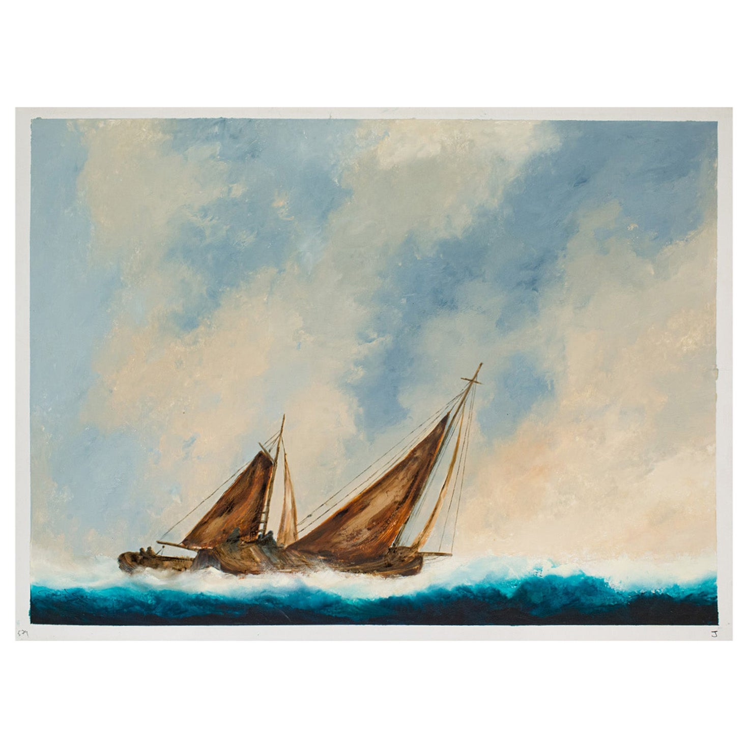 Large Seascape Oil Painting, Vintage Sailing Boat, Marine, Art, Original