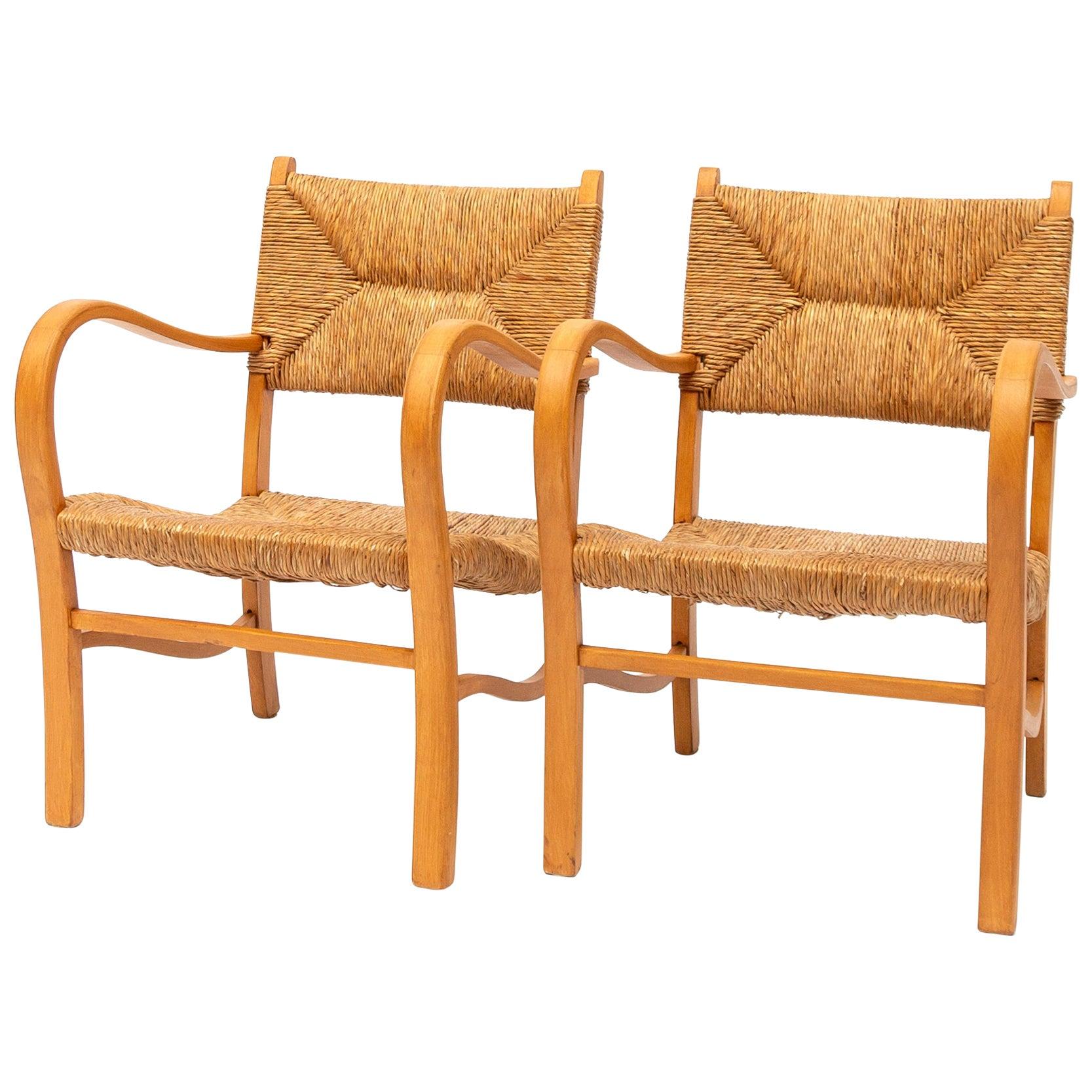 Set of Two Beechwood Rattan Chairs, 1960s