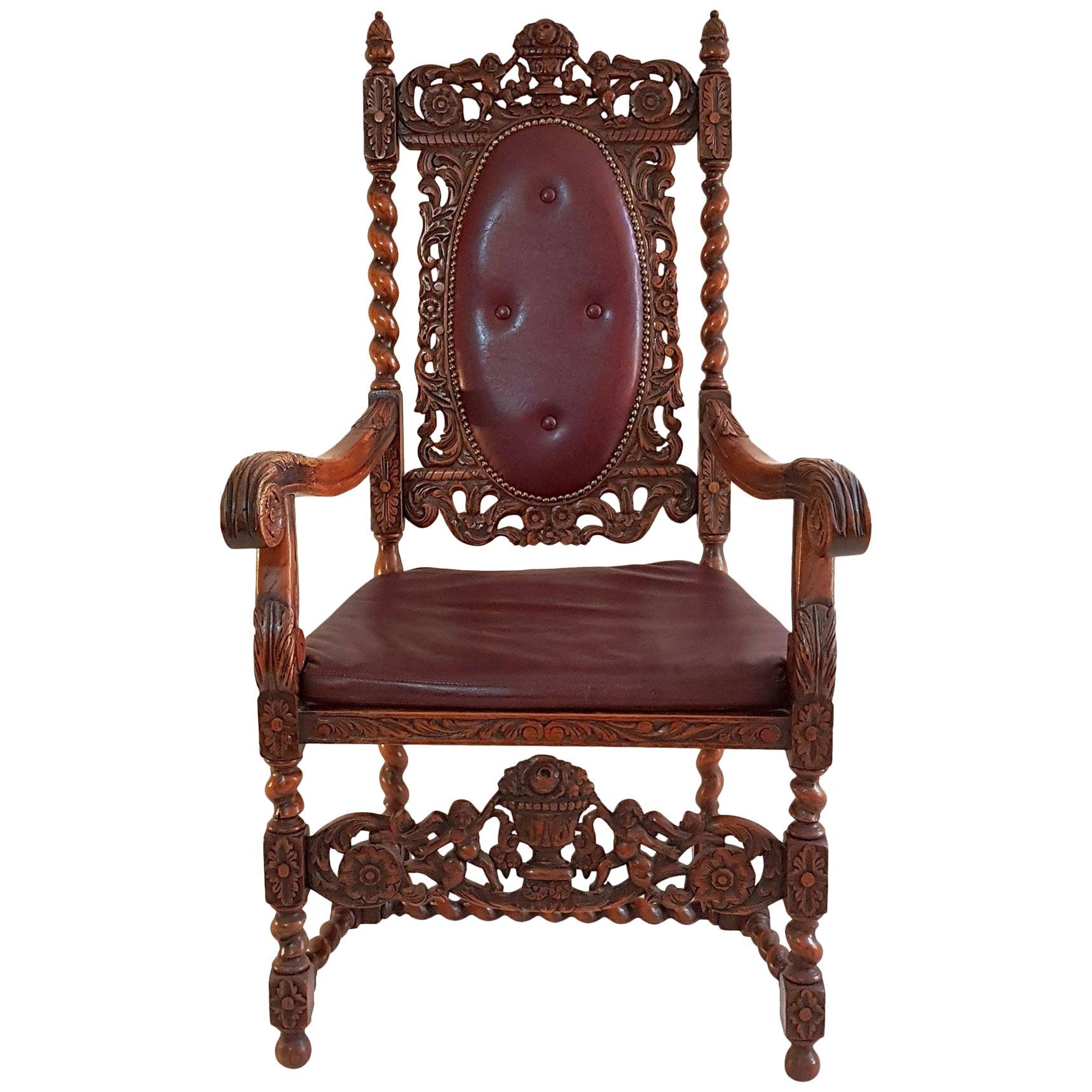 Swedish Baroque Oak Style Armchair, circa 1920