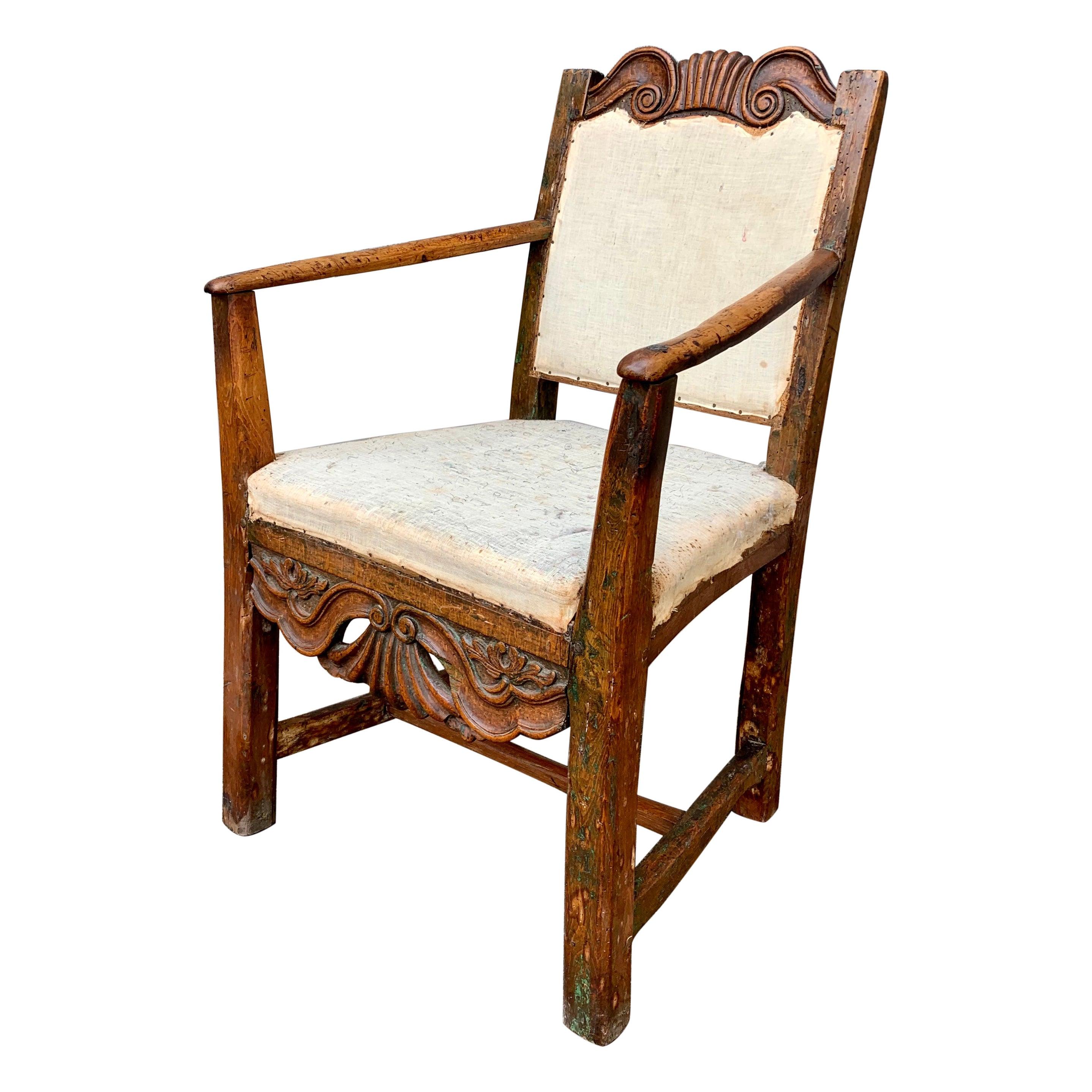 Small Swedish 18th Century Primitive Rococo Folk Art Armchair