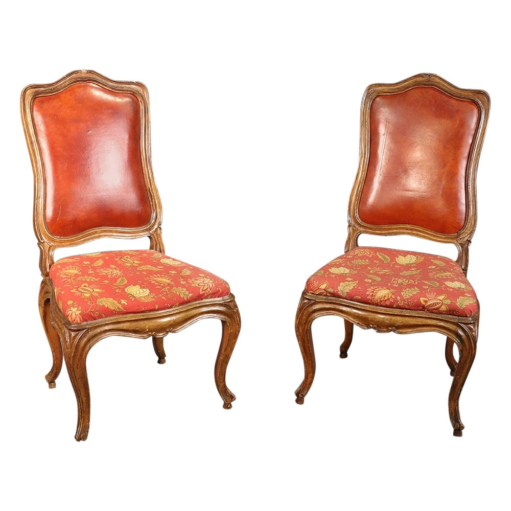 Pair of French Louis XV Style Carved Walnut Tall Back Side Chairs