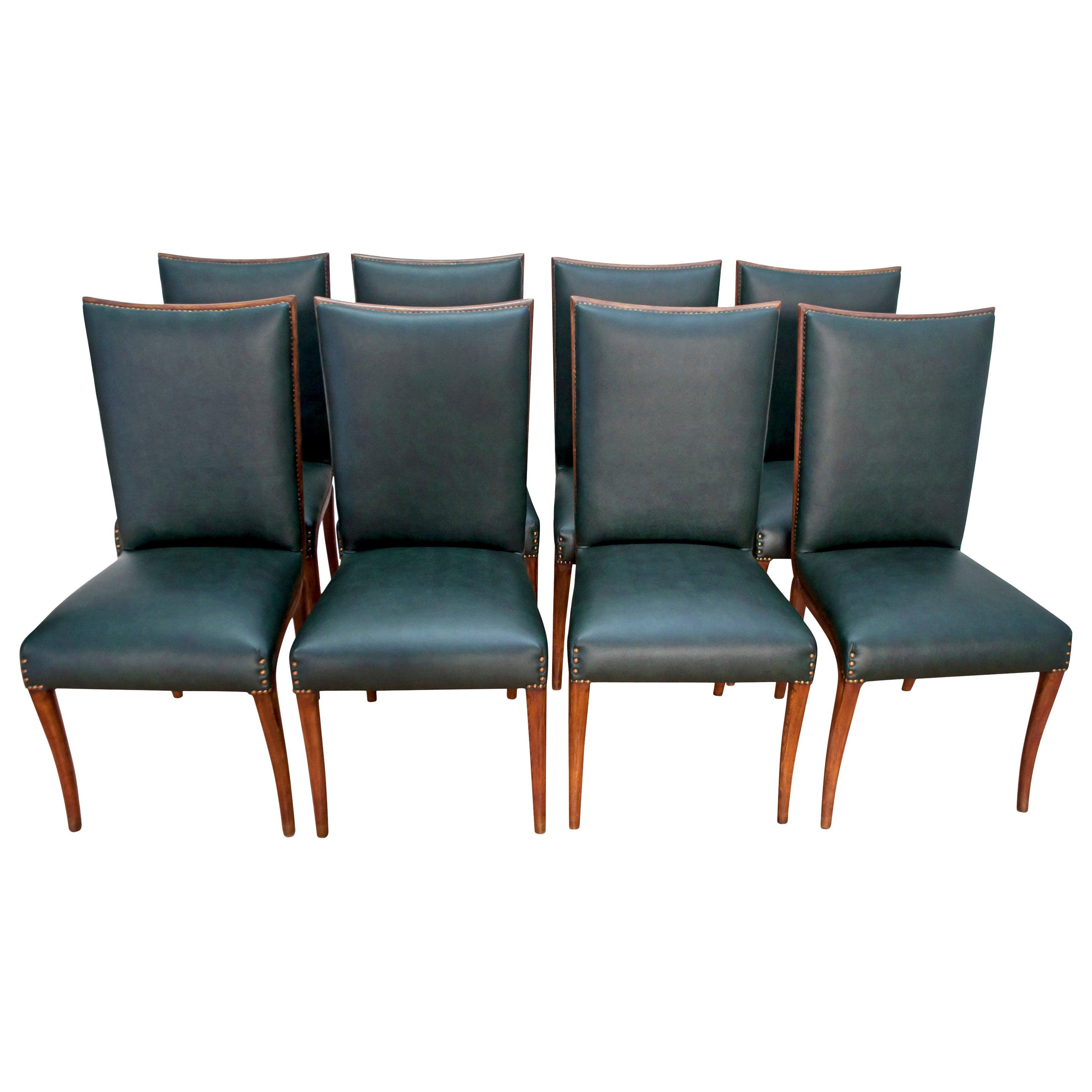 Vittorio Dassi Mid-Century Modern Italian Walnut Eight Dining Chairs, 1950s