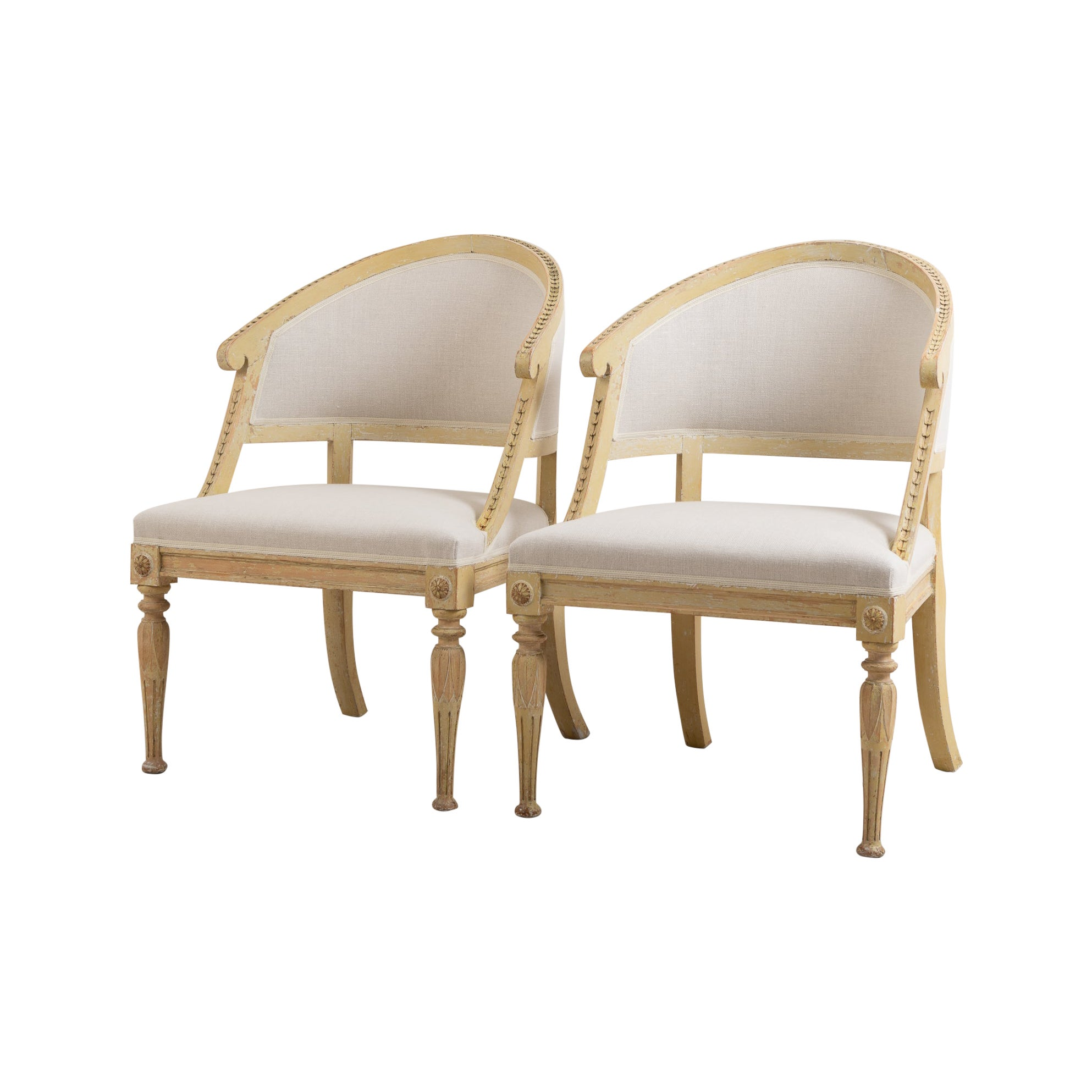 19th Century Swedish Gustavian Style Barrel Back Chairs