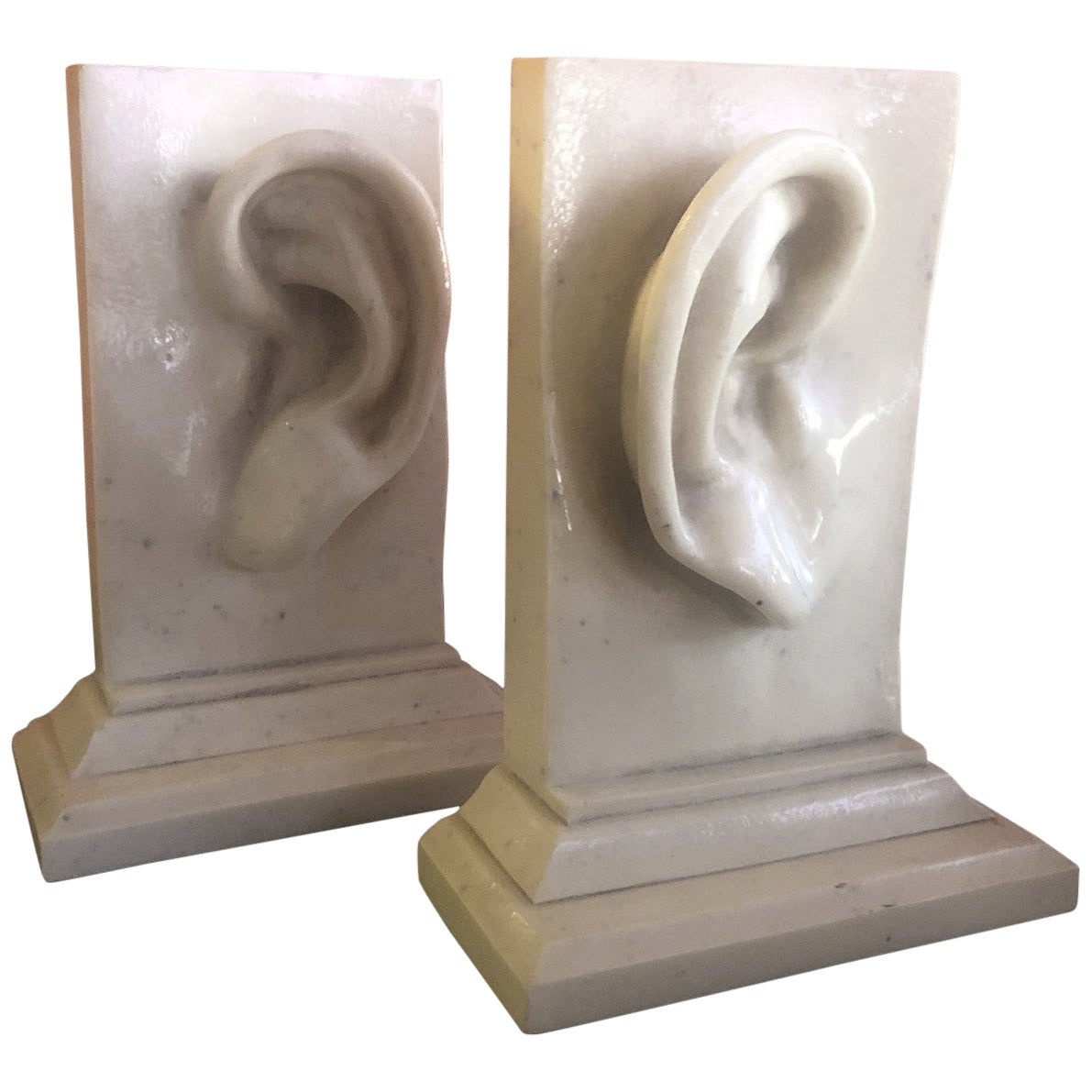 """Pair of Faux Marble Pop Art """"Ear"""" Bookends"""